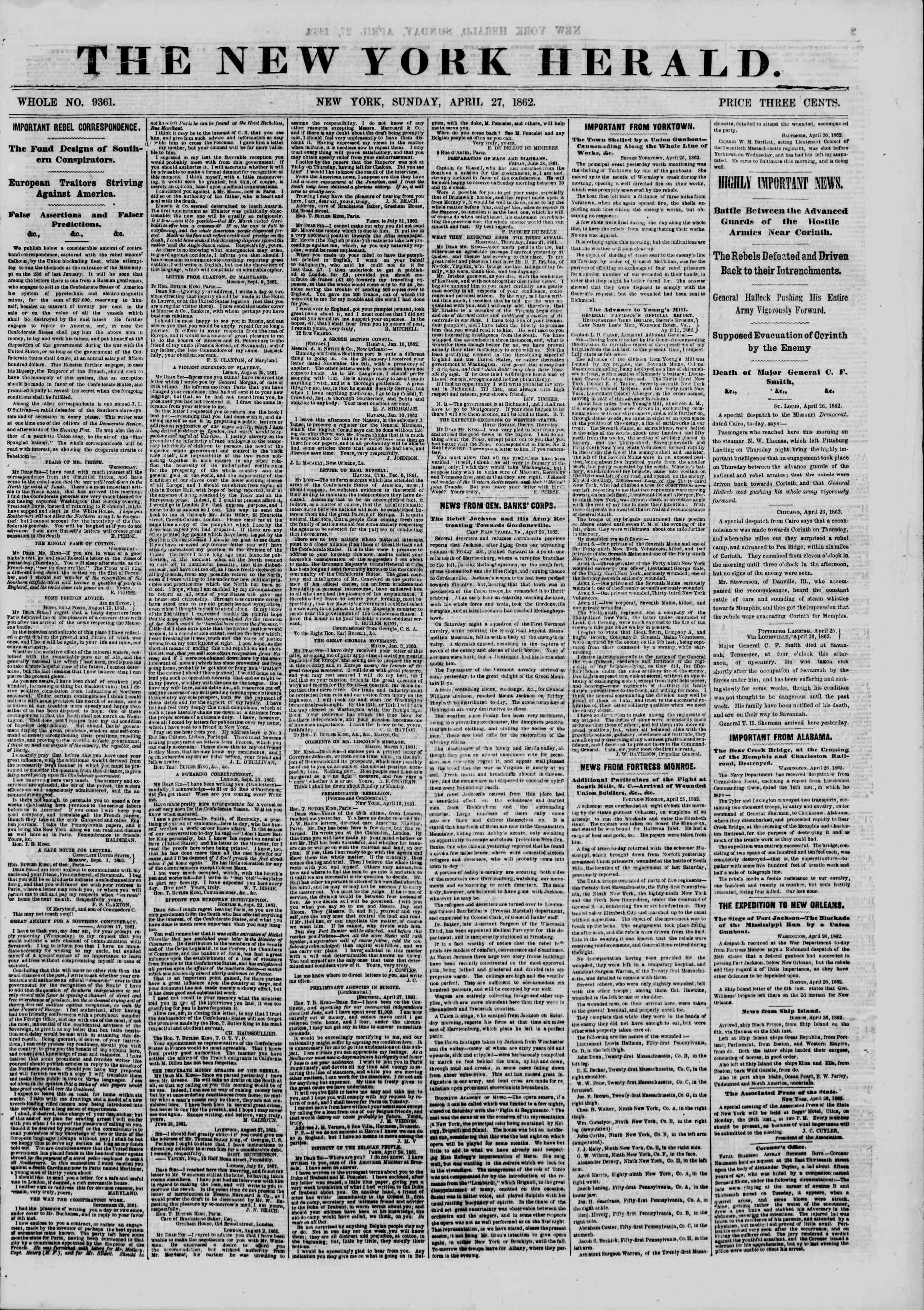 Newspaper of The New York Herald dated April 27, 1862 Page 1