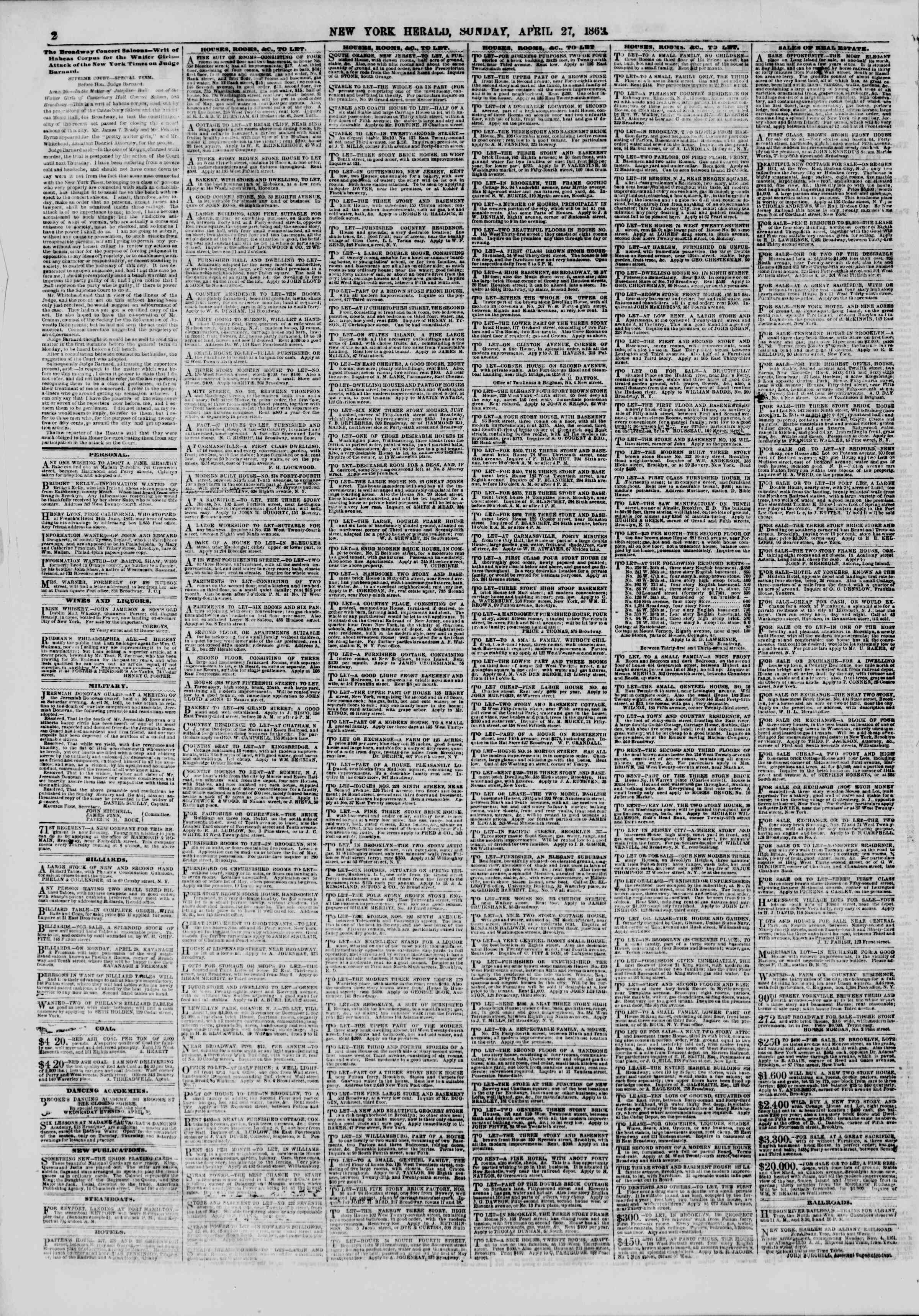 Newspaper of The New York Herald dated April 27, 1862 Page 2