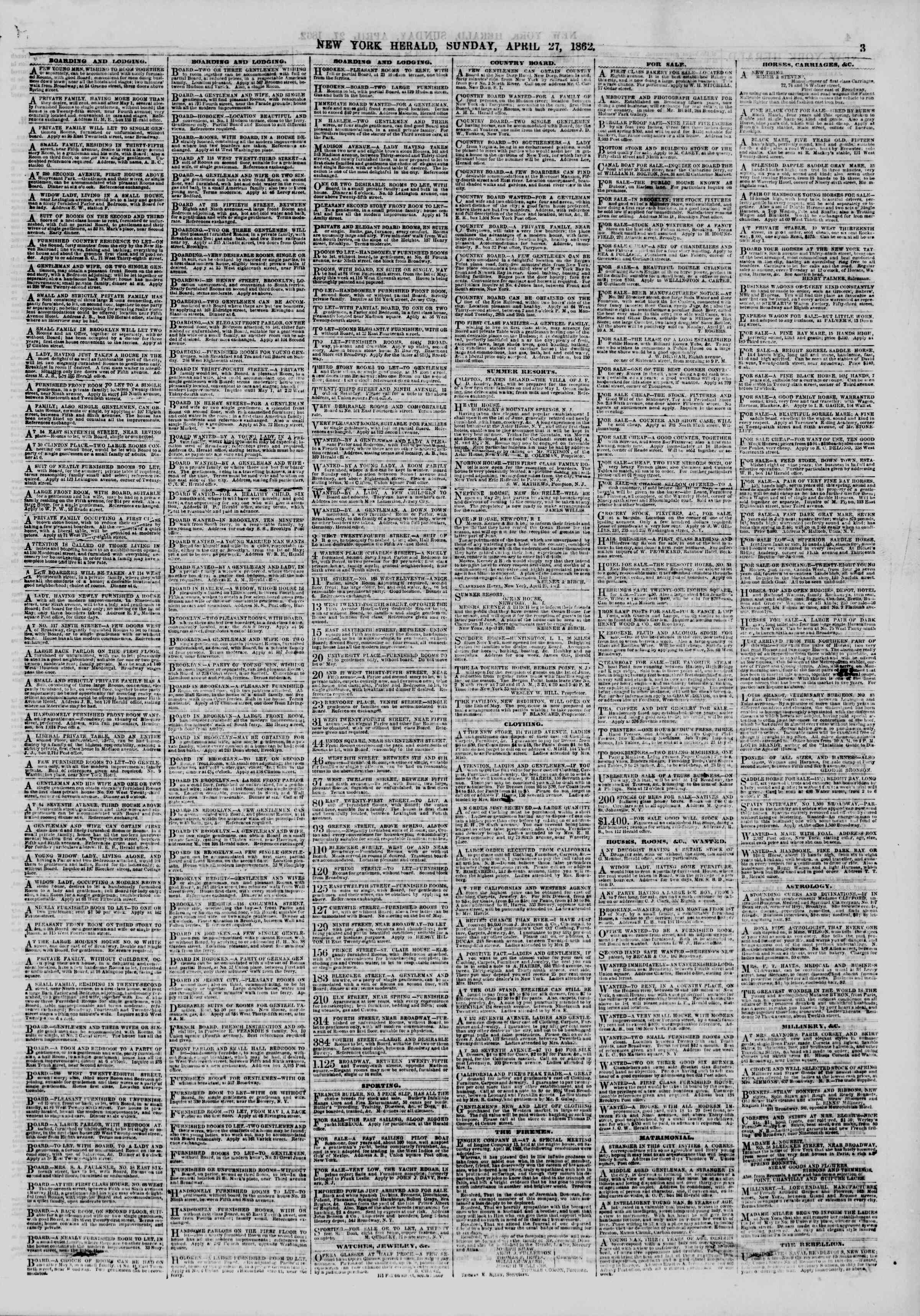 Newspaper of The New York Herald dated April 27, 1862 Page 3