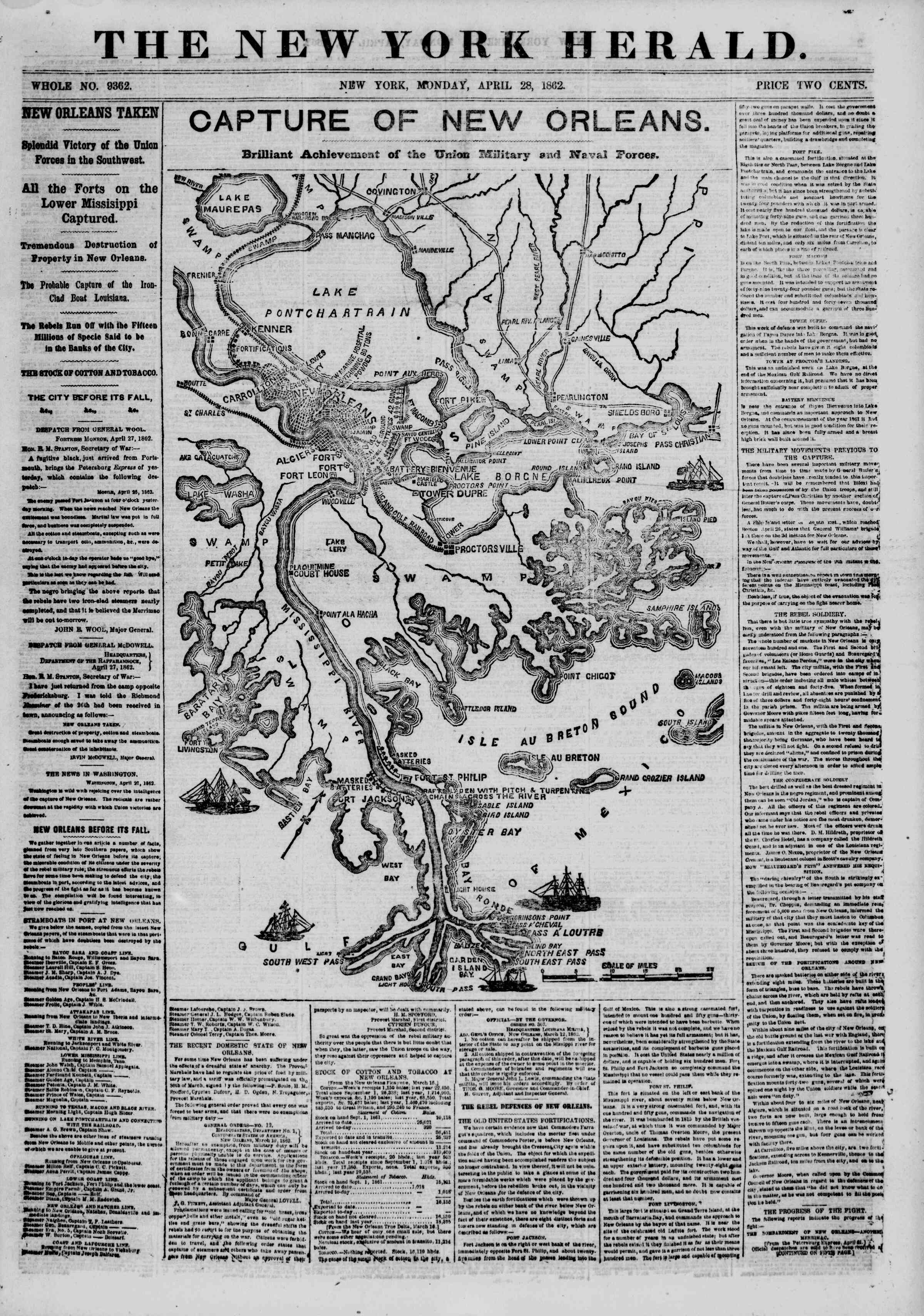 Newspaper of The New York Herald dated April 28, 1862 Page 1