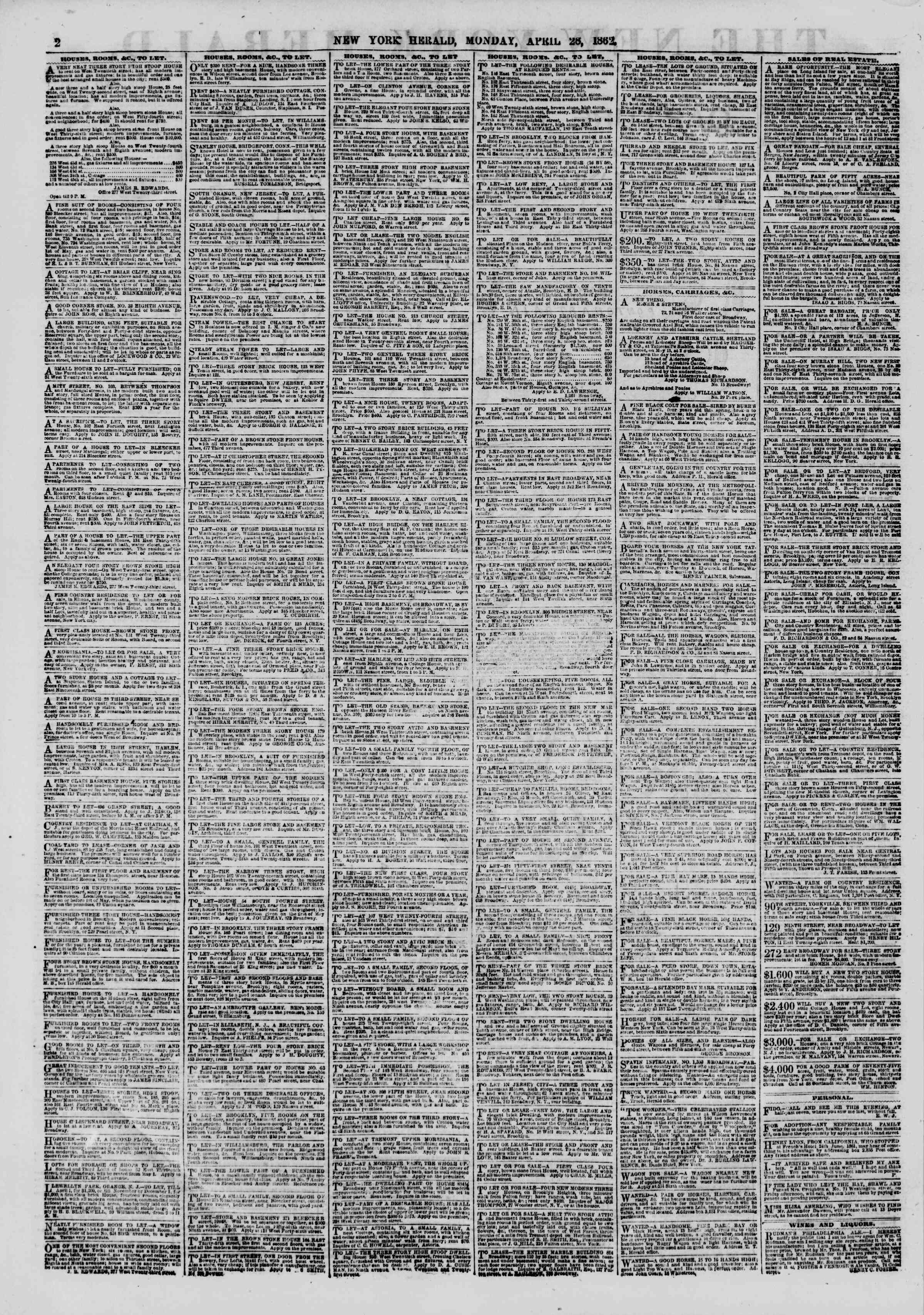 Newspaper of The New York Herald dated April 28, 1862 Page 2