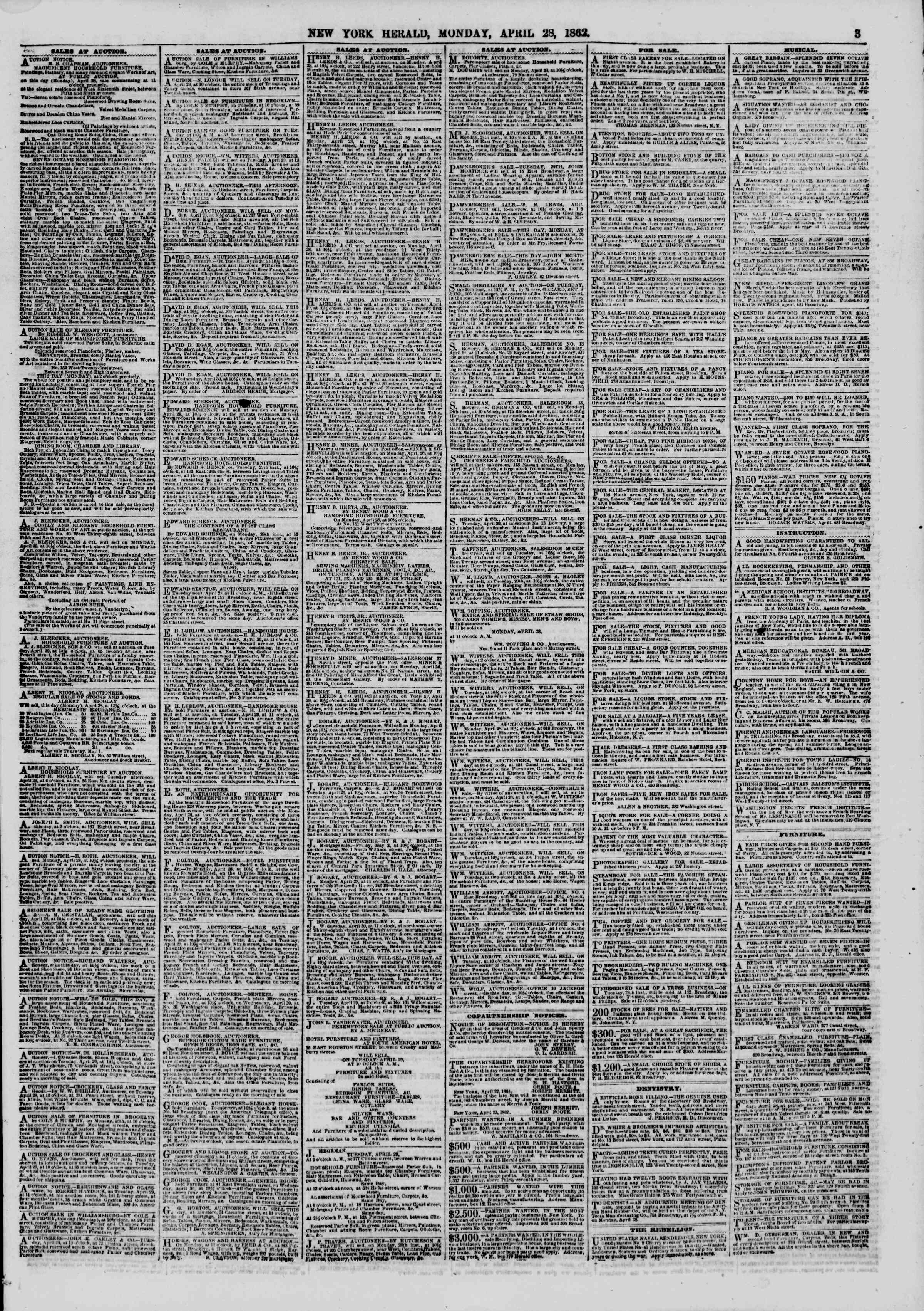 Newspaper of The New York Herald dated April 28, 1862 Page 3