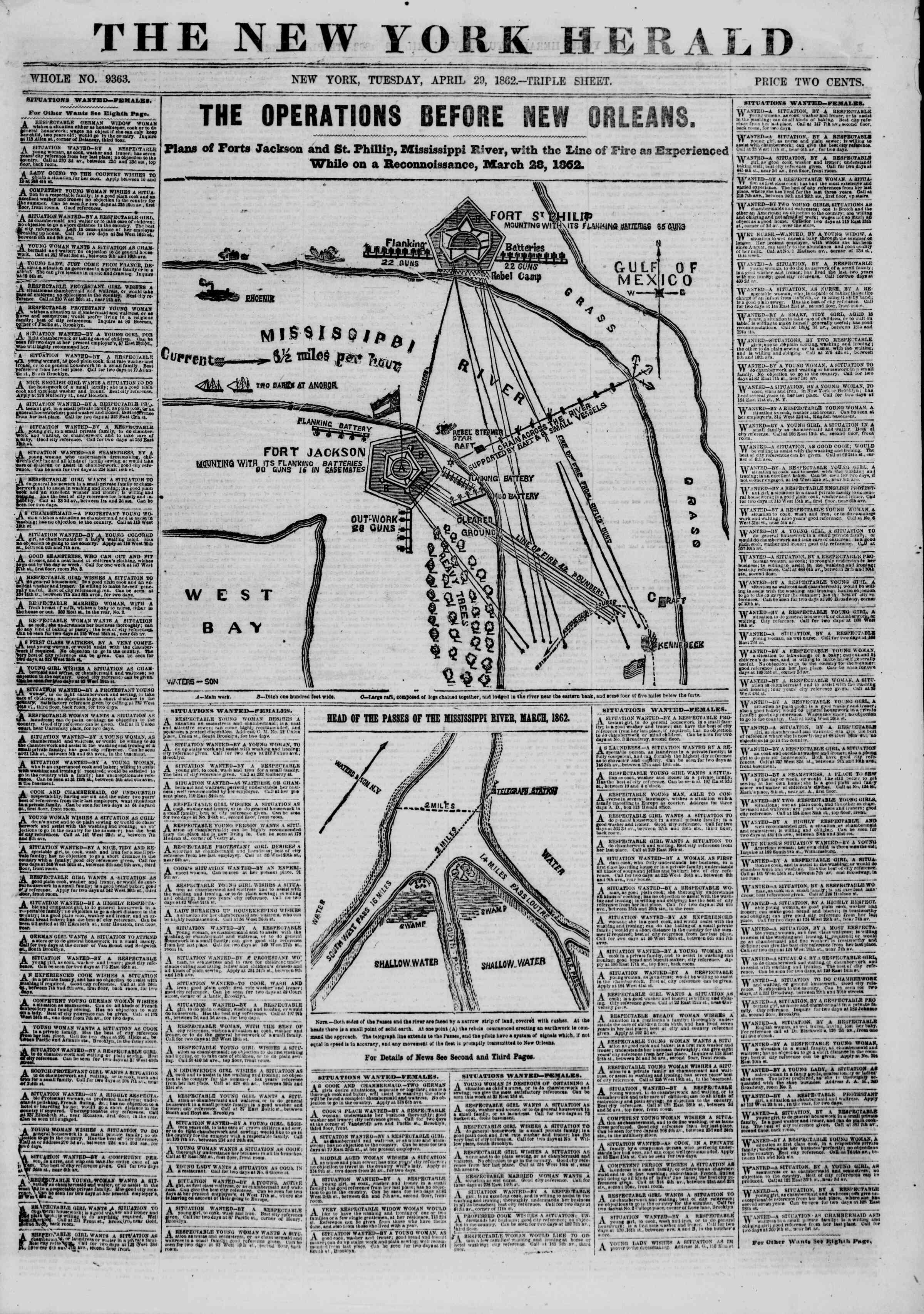 Newspaper of The New York Herald dated April 29, 1862 Page 1