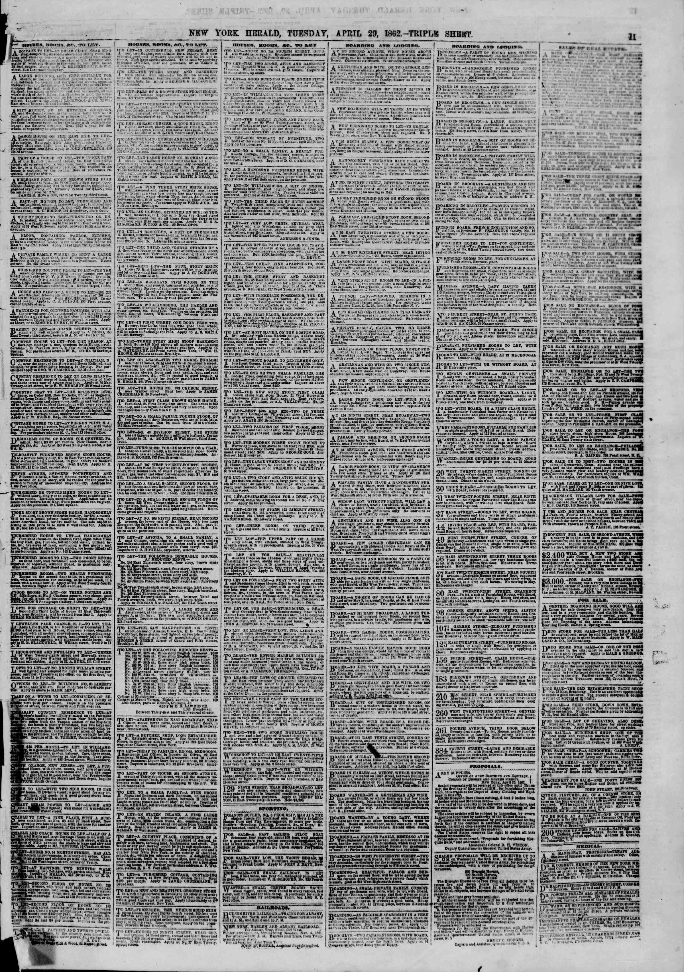 Newspaper of The New York Herald dated 29 Nisan 1862 Page 11