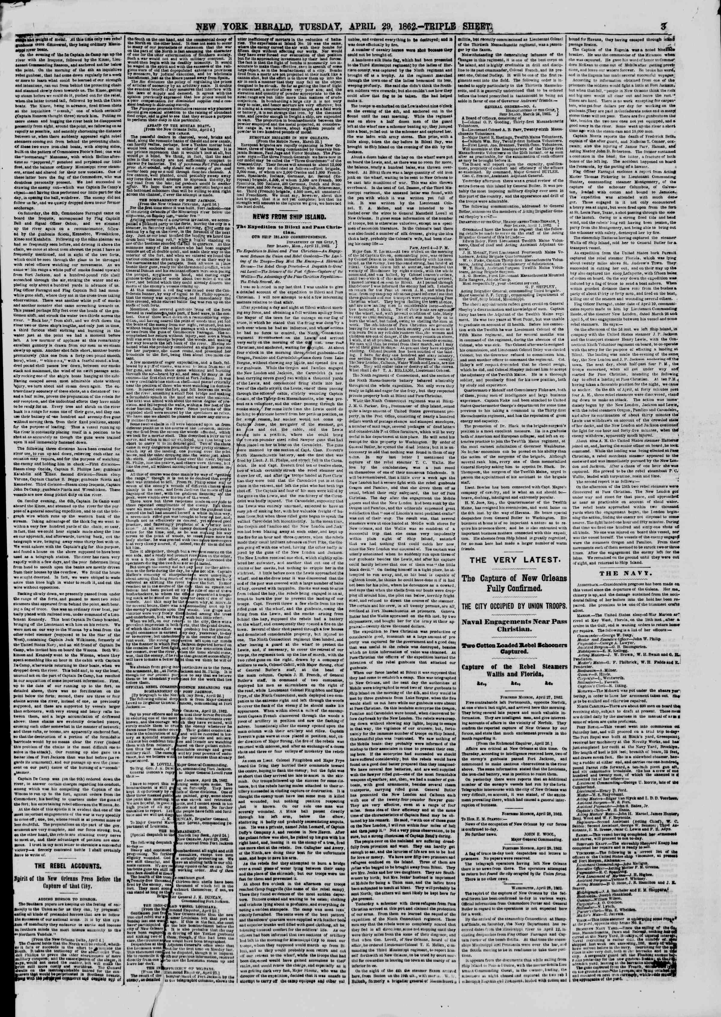 Newspaper of The New York Herald dated April 29, 1862 Page 3