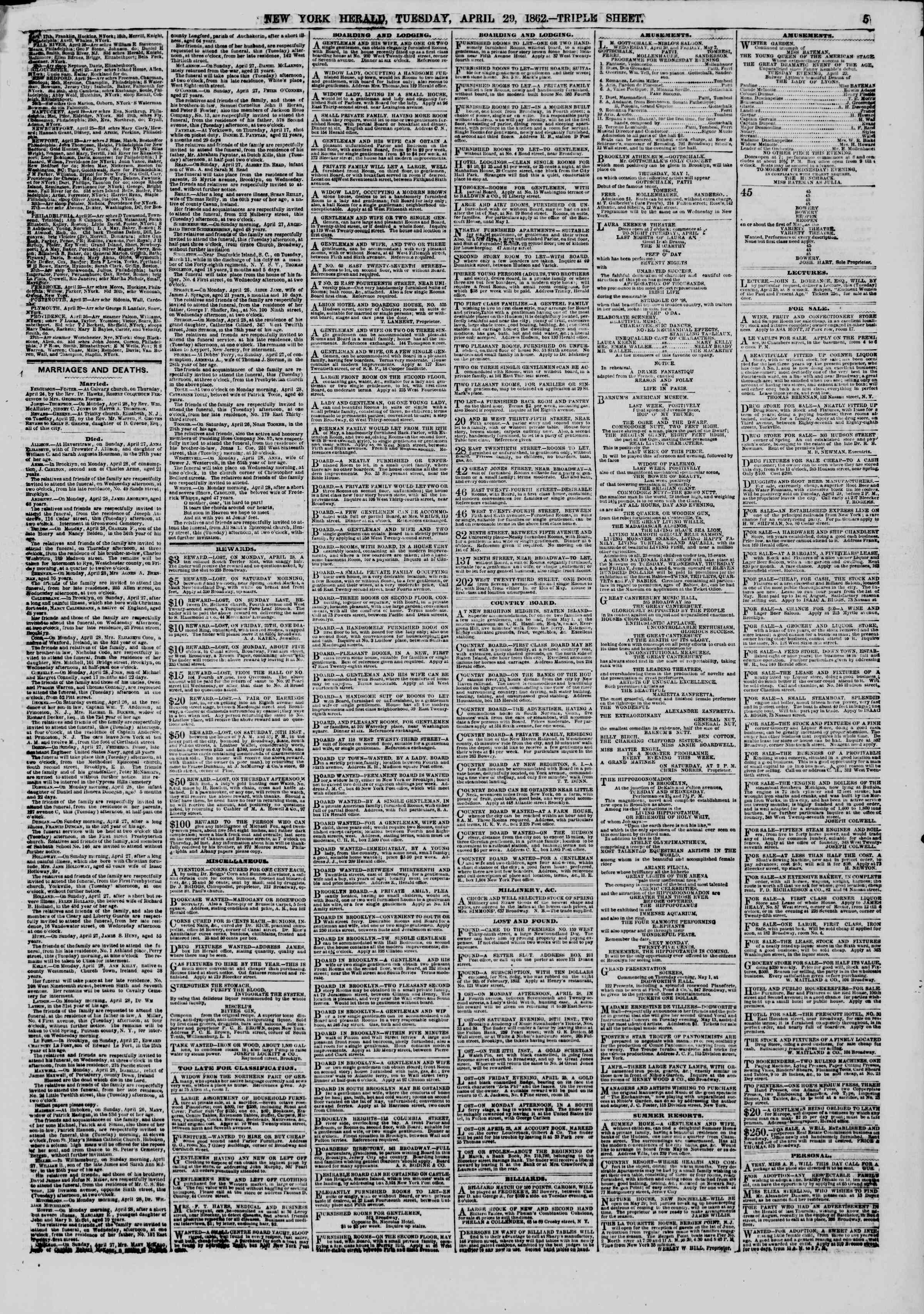Newspaper of The New York Herald dated April 29, 1862 Page 5