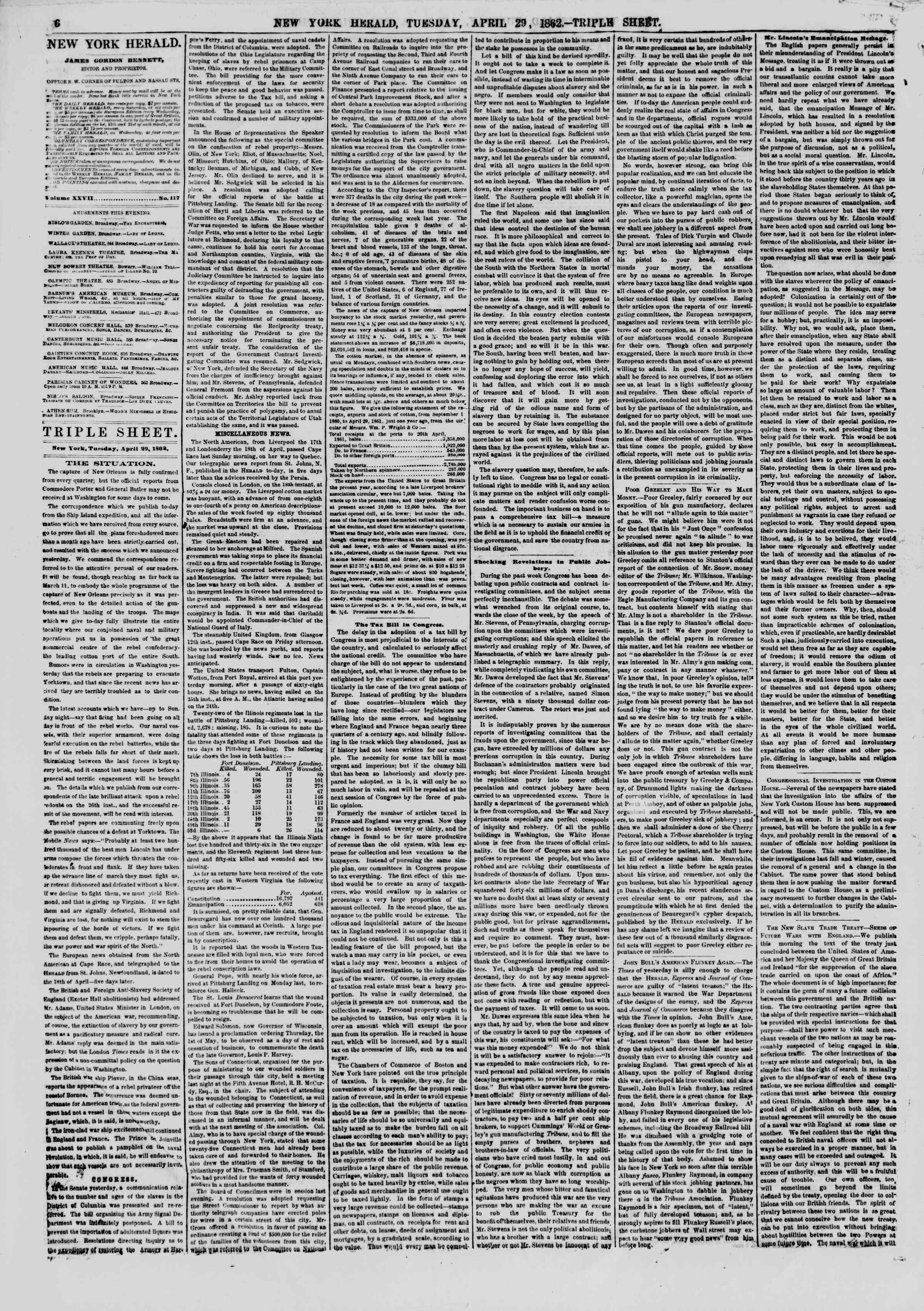 Newspaper of The New York Herald dated April 29, 1862 Page 6