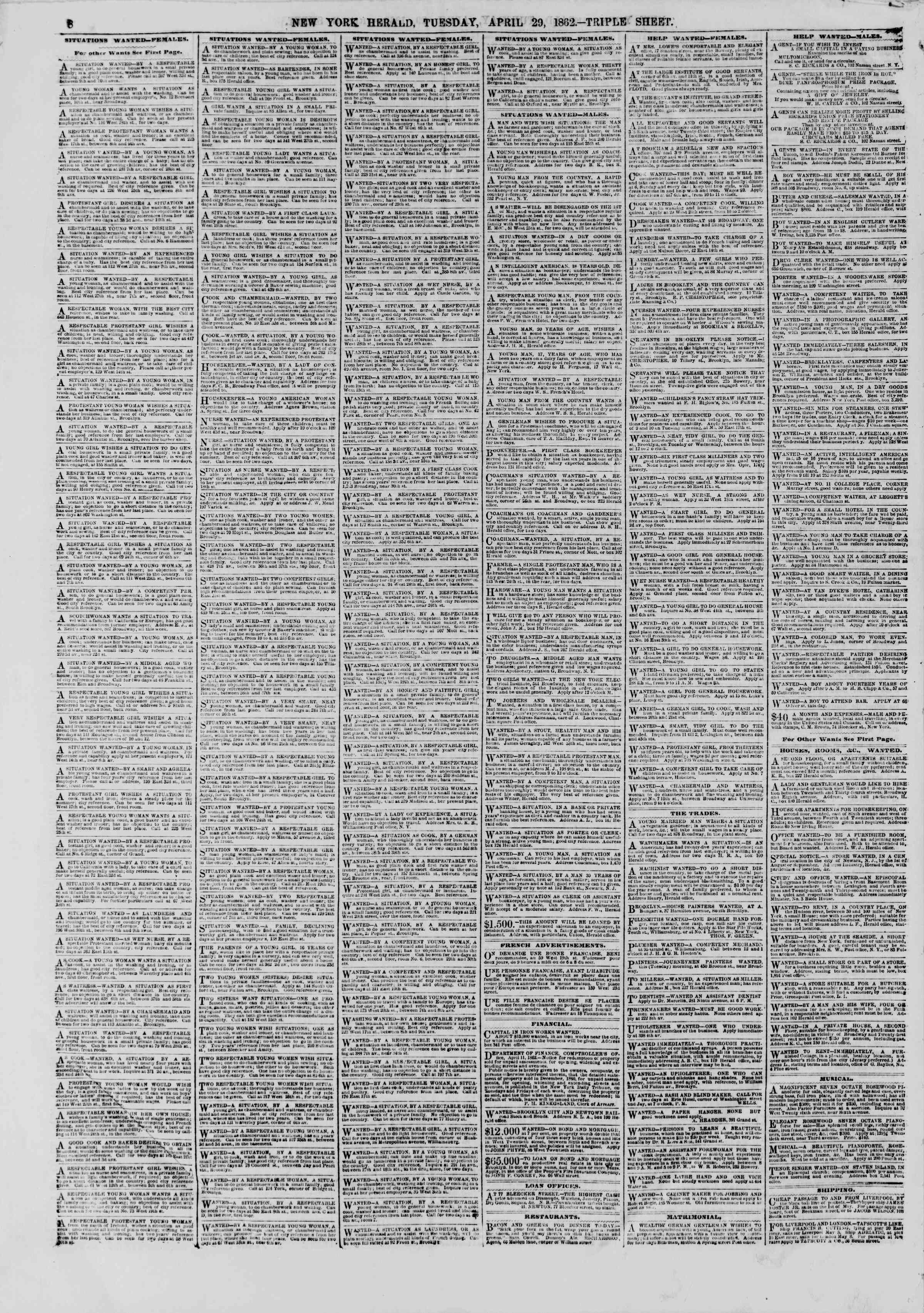 Newspaper of The New York Herald dated April 29, 1862 Page 8