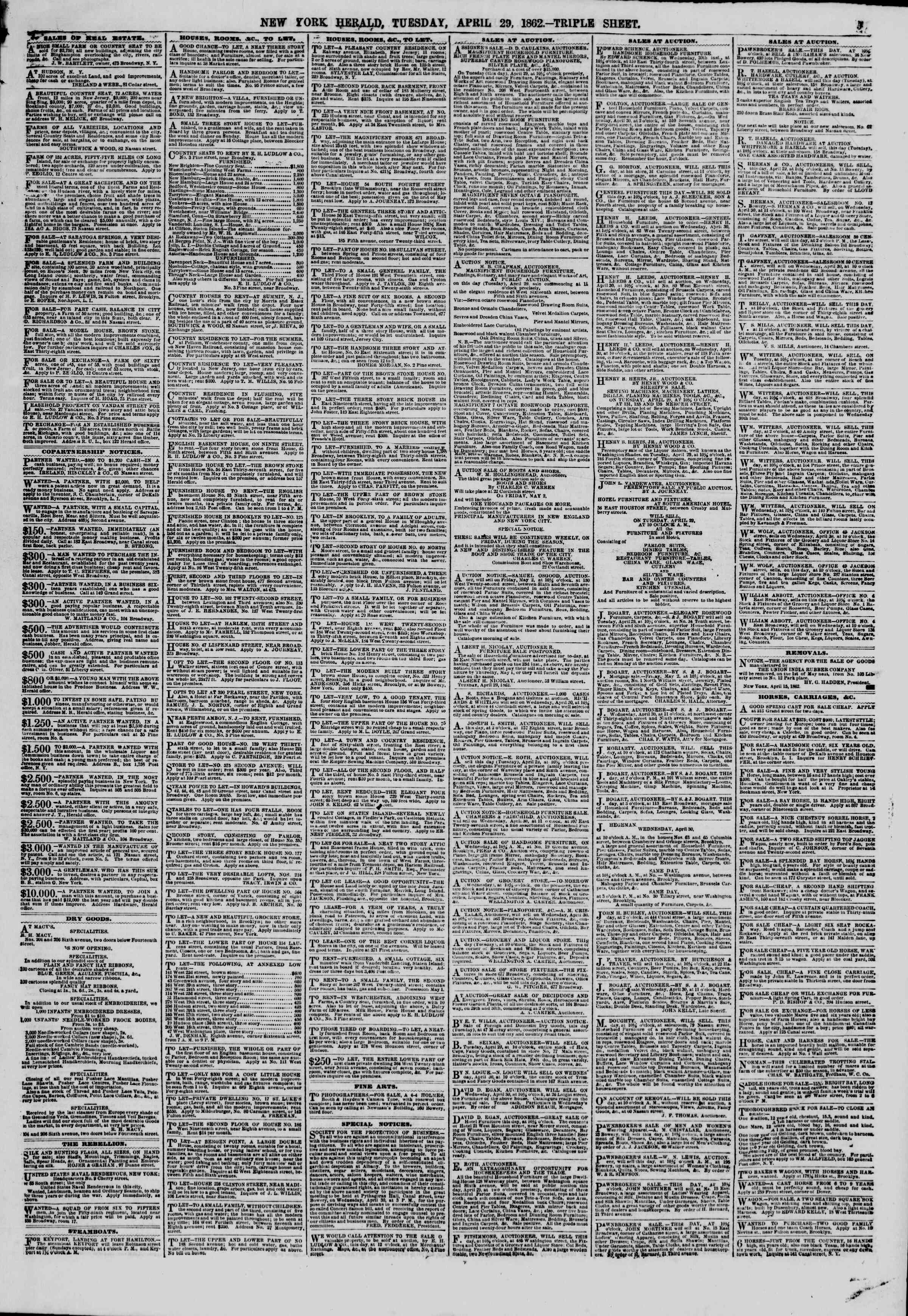 Newspaper of The New York Herald dated April 29, 1862 Page 9