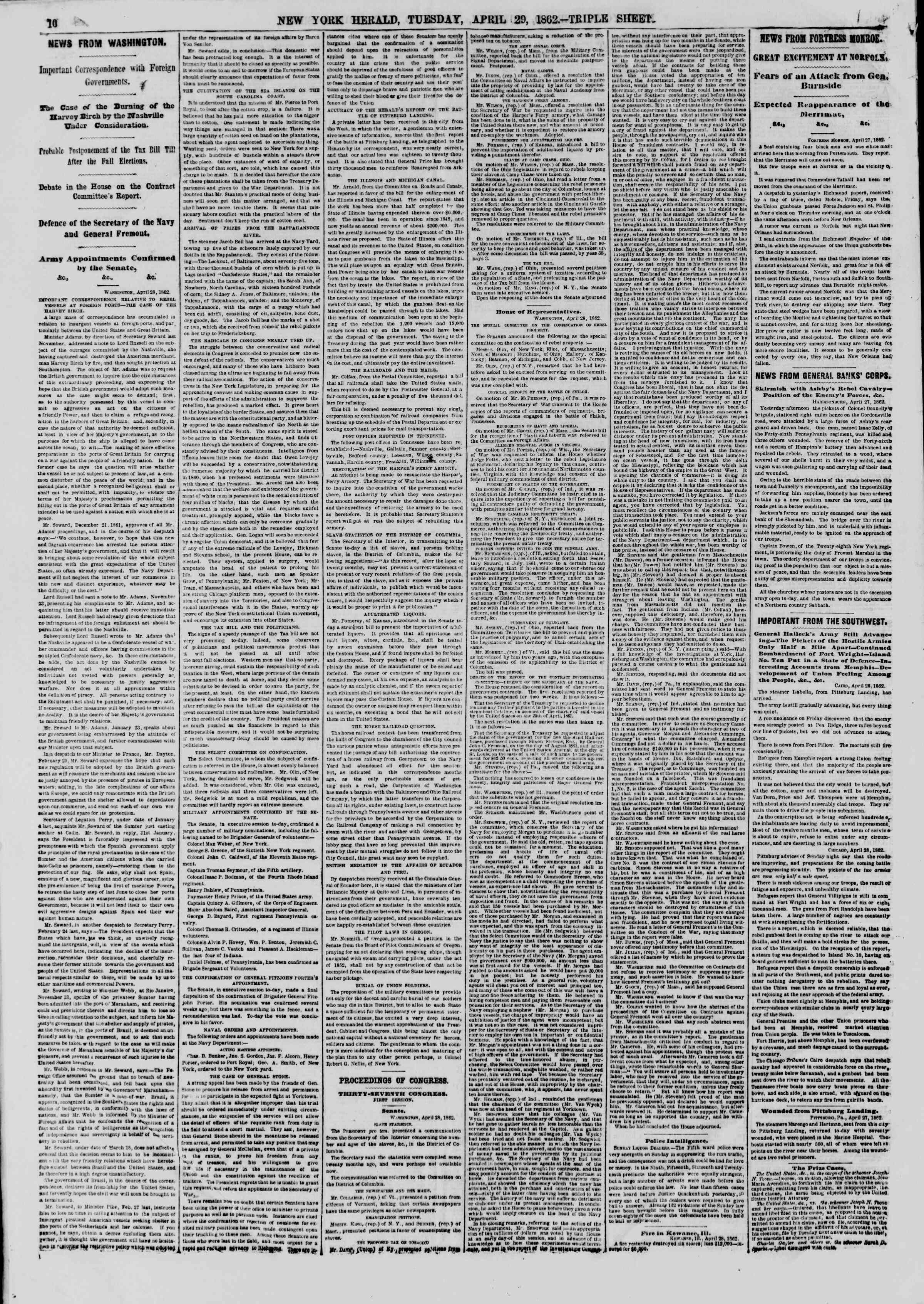 Newspaper of The New York Herald dated April 29, 1862 Page 10