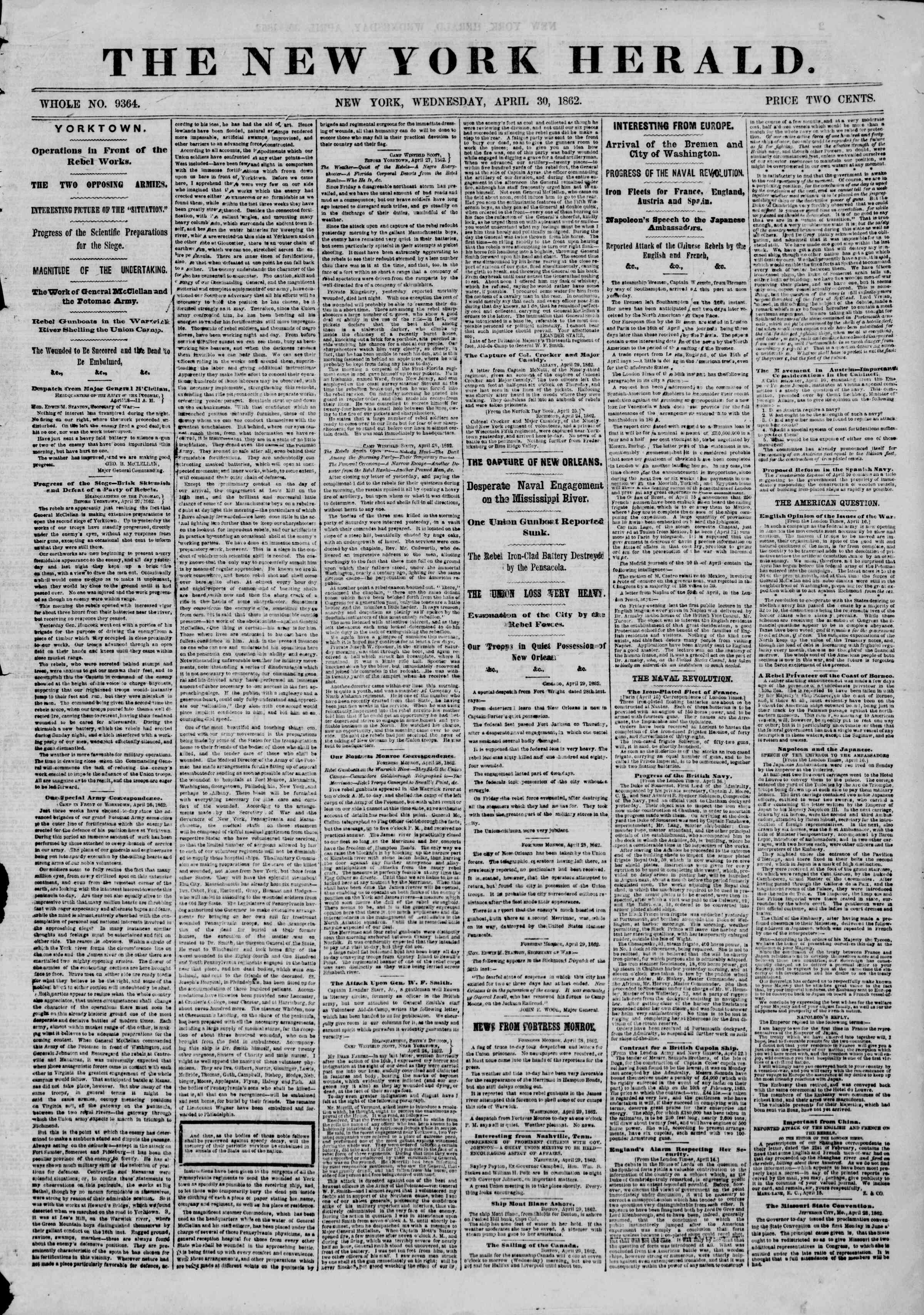 Newspaper of The New York Herald dated April 30, 1862 Page 1