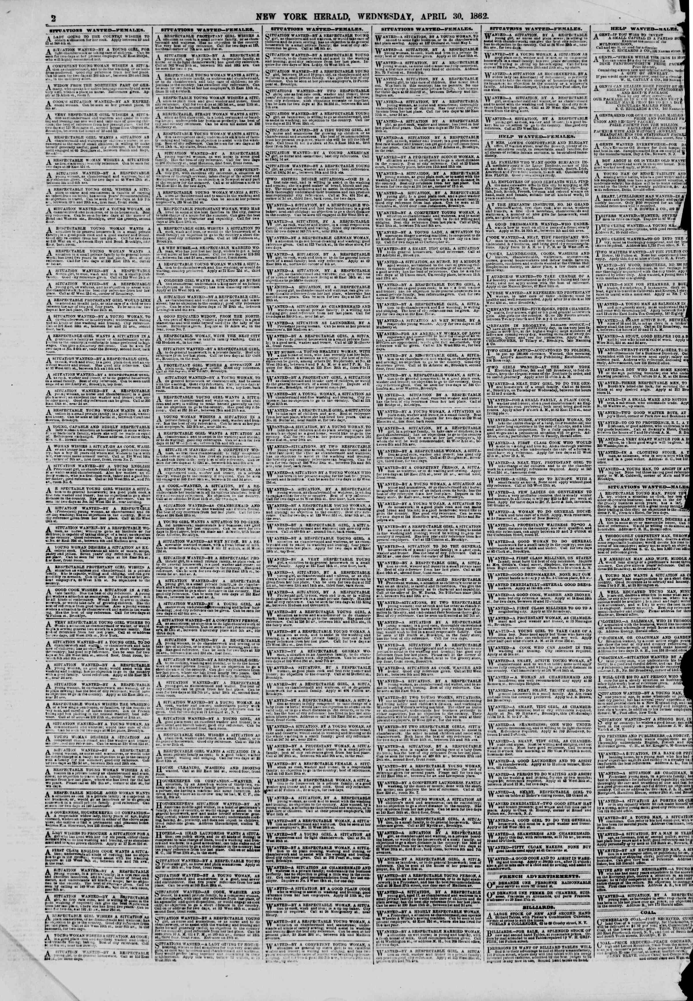 Newspaper of The New York Herald dated April 30, 1862 Page 2
