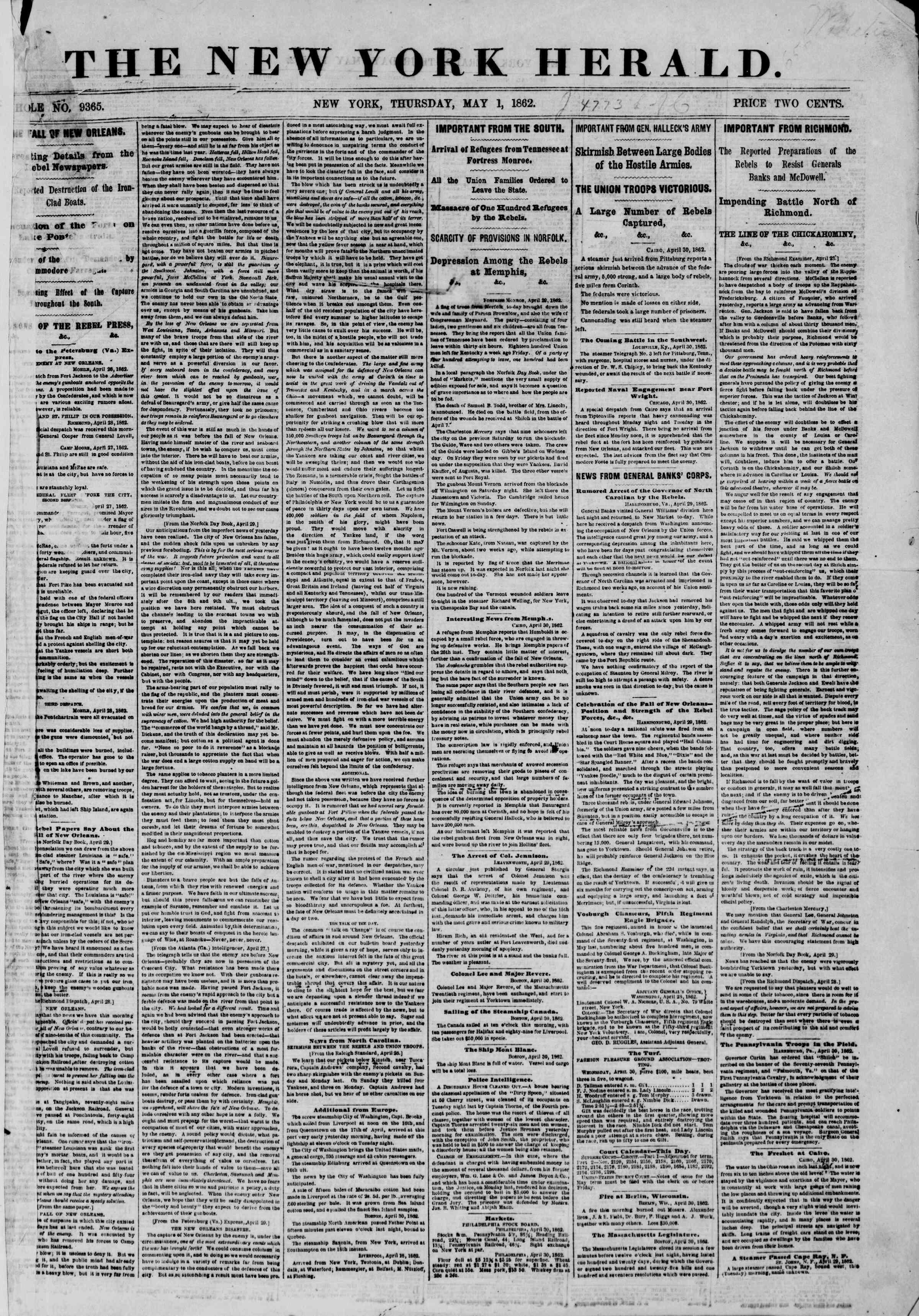 1 Mayıs 1862 tarihli The New York Herald Gazetesi Sayfa 1
