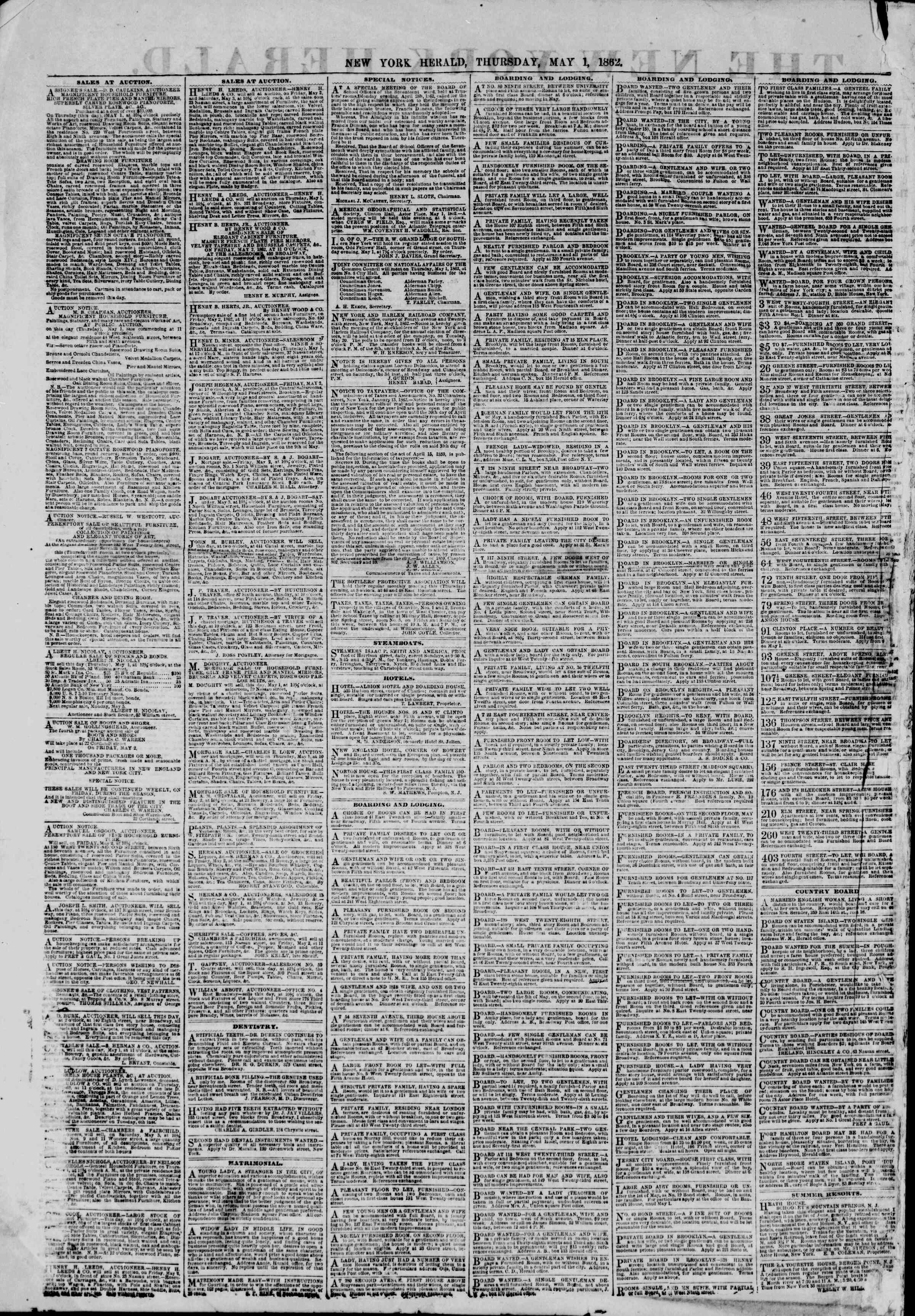 Newspaper of The New York Herald dated May 1, 1862 Page 2