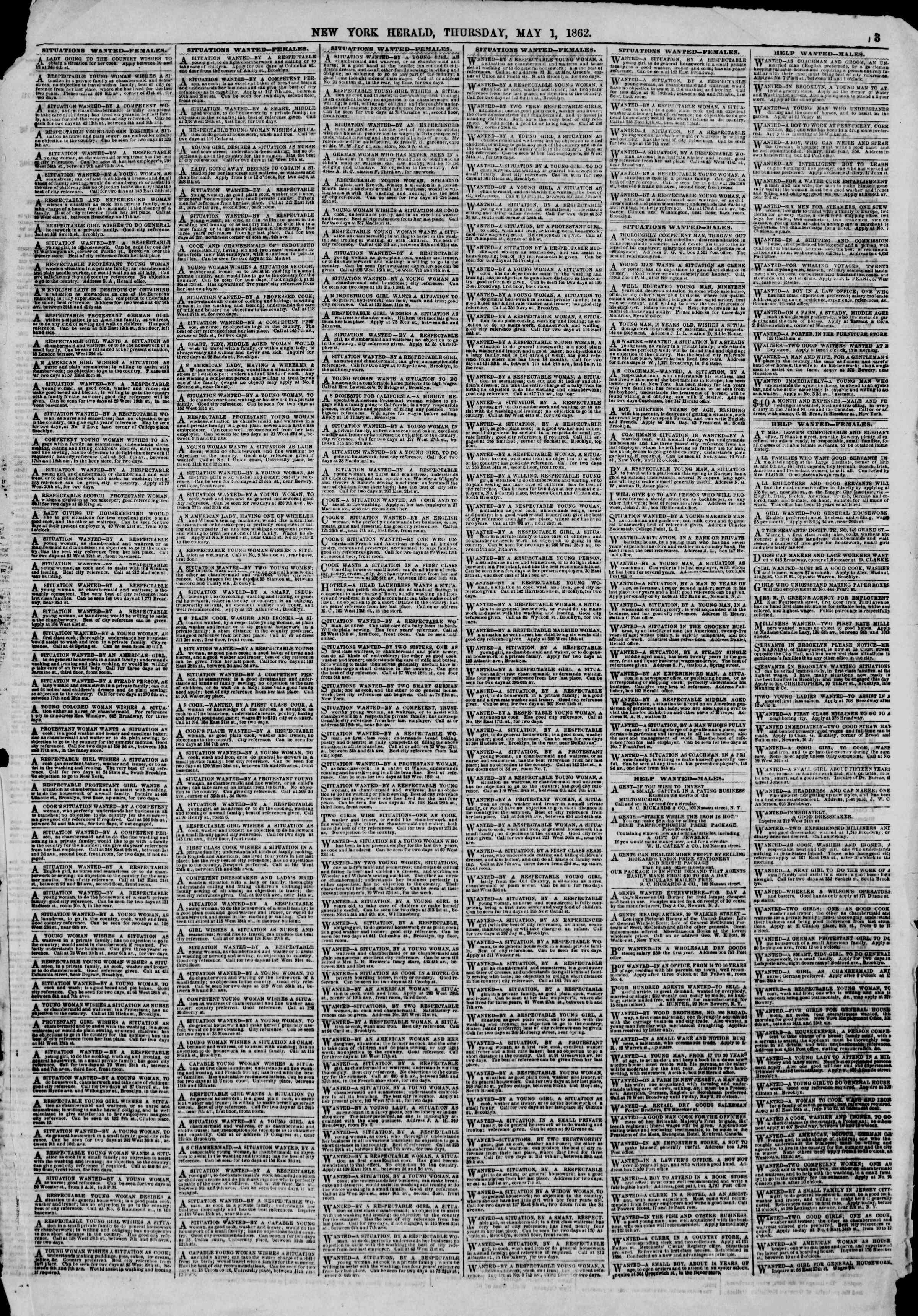 Newspaper of The New York Herald dated May 1, 1862 Page 3