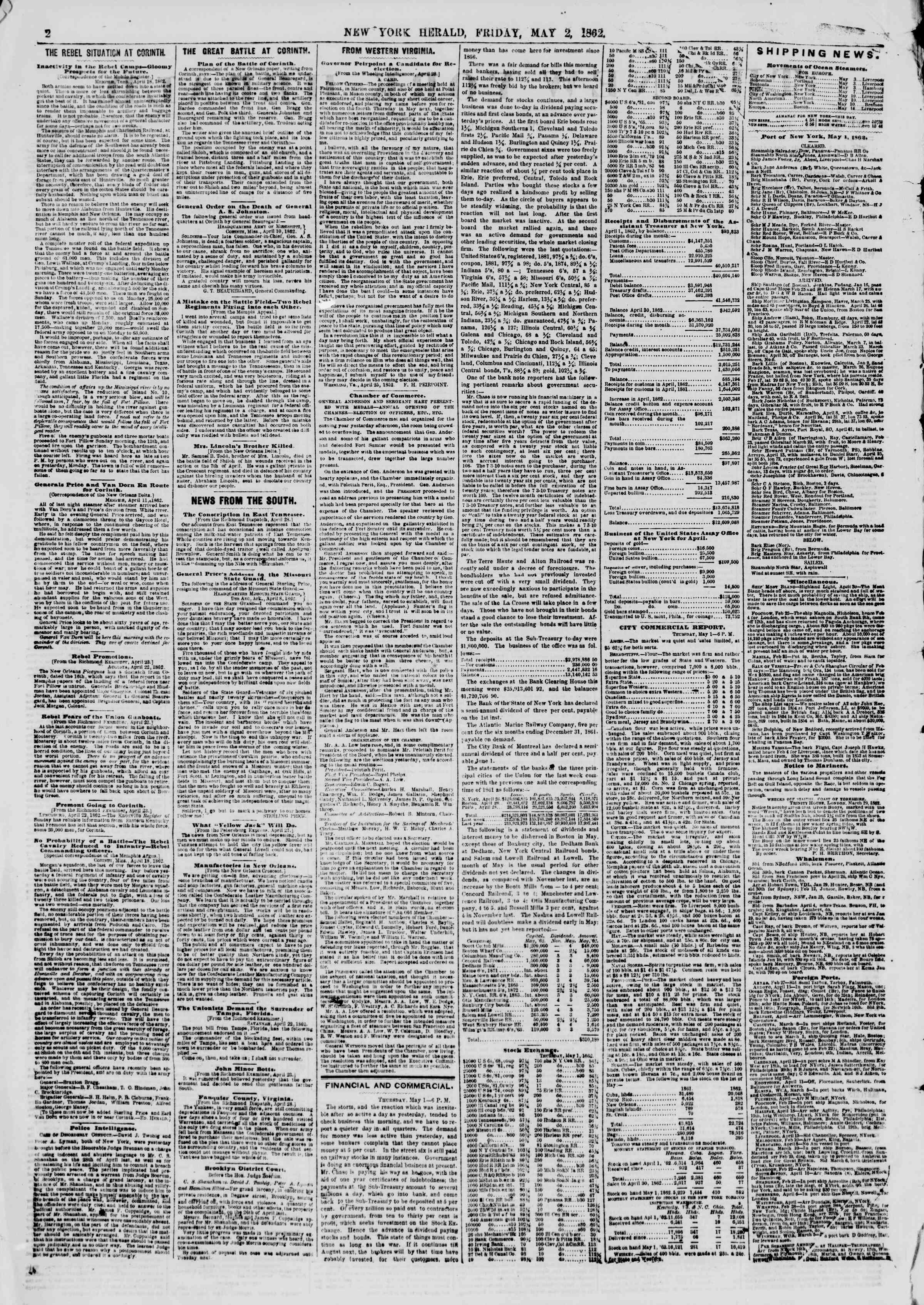 Newspaper of The New York Herald dated May 2, 1862 Page 2