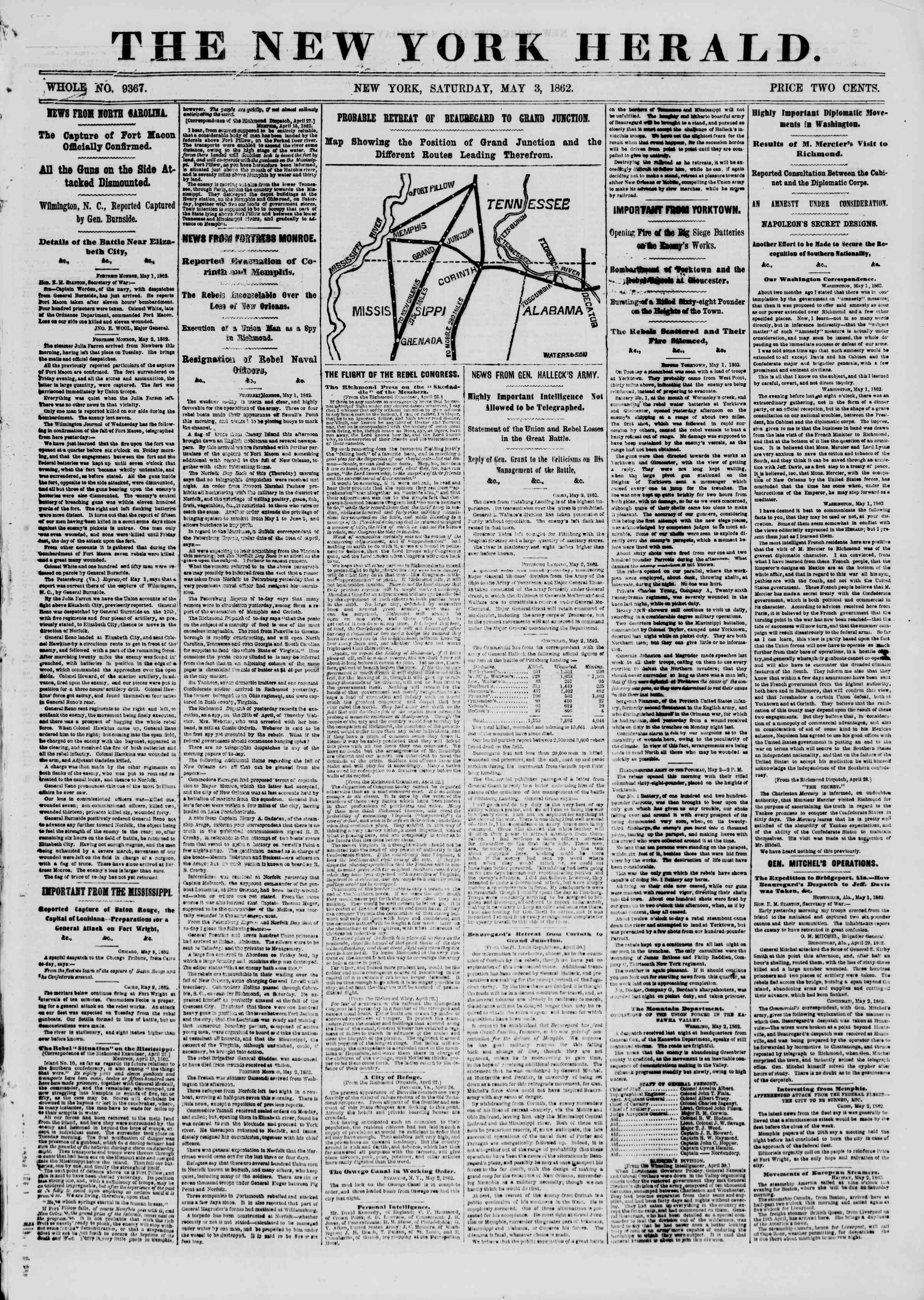 Newspaper of The New York Herald dated May 3, 1862 Page 1