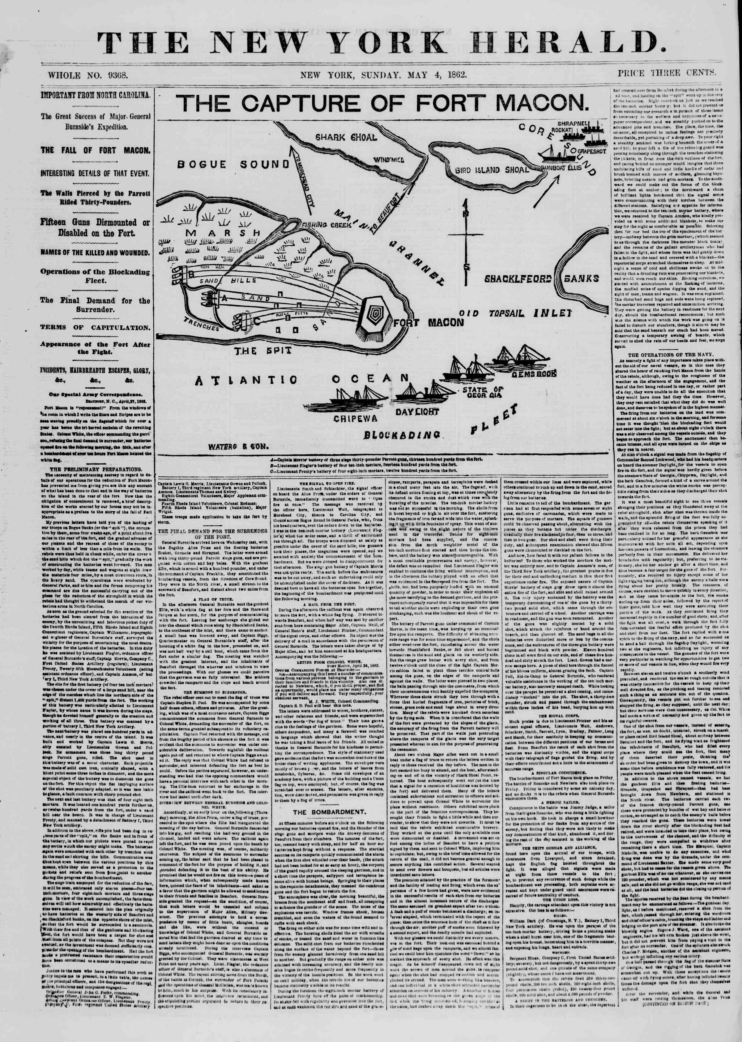 4 Mayıs 1862 tarihli The New York Herald Gazetesi Sayfa 1