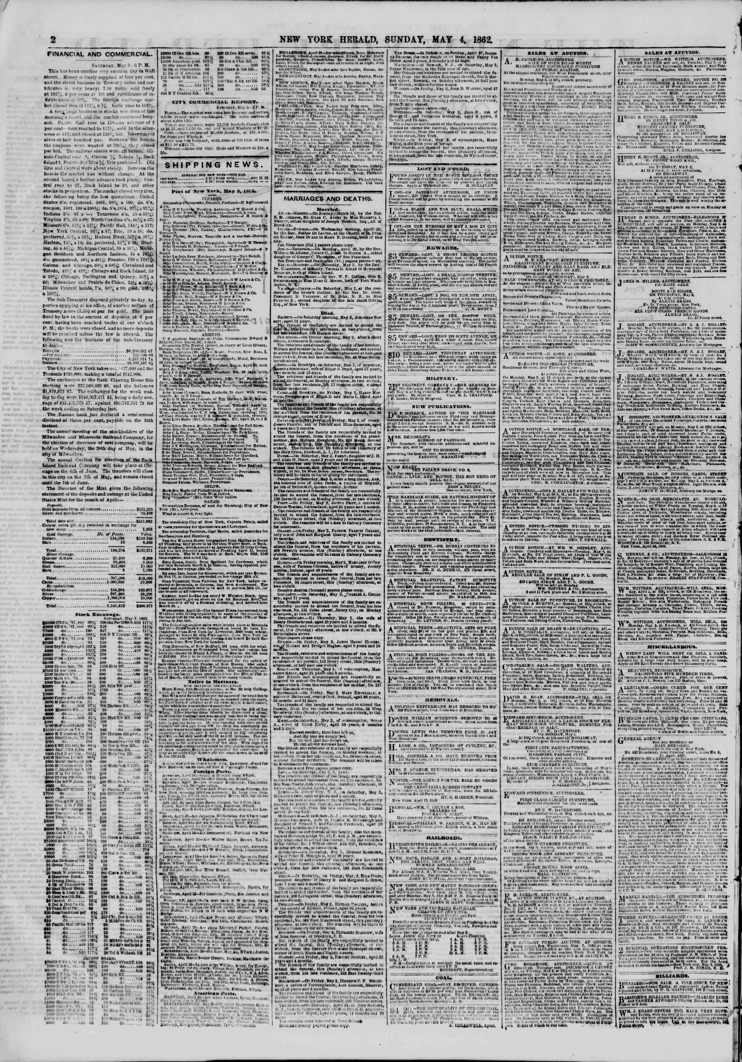 Newspaper of The New York Herald dated May 4, 1862 Page 2