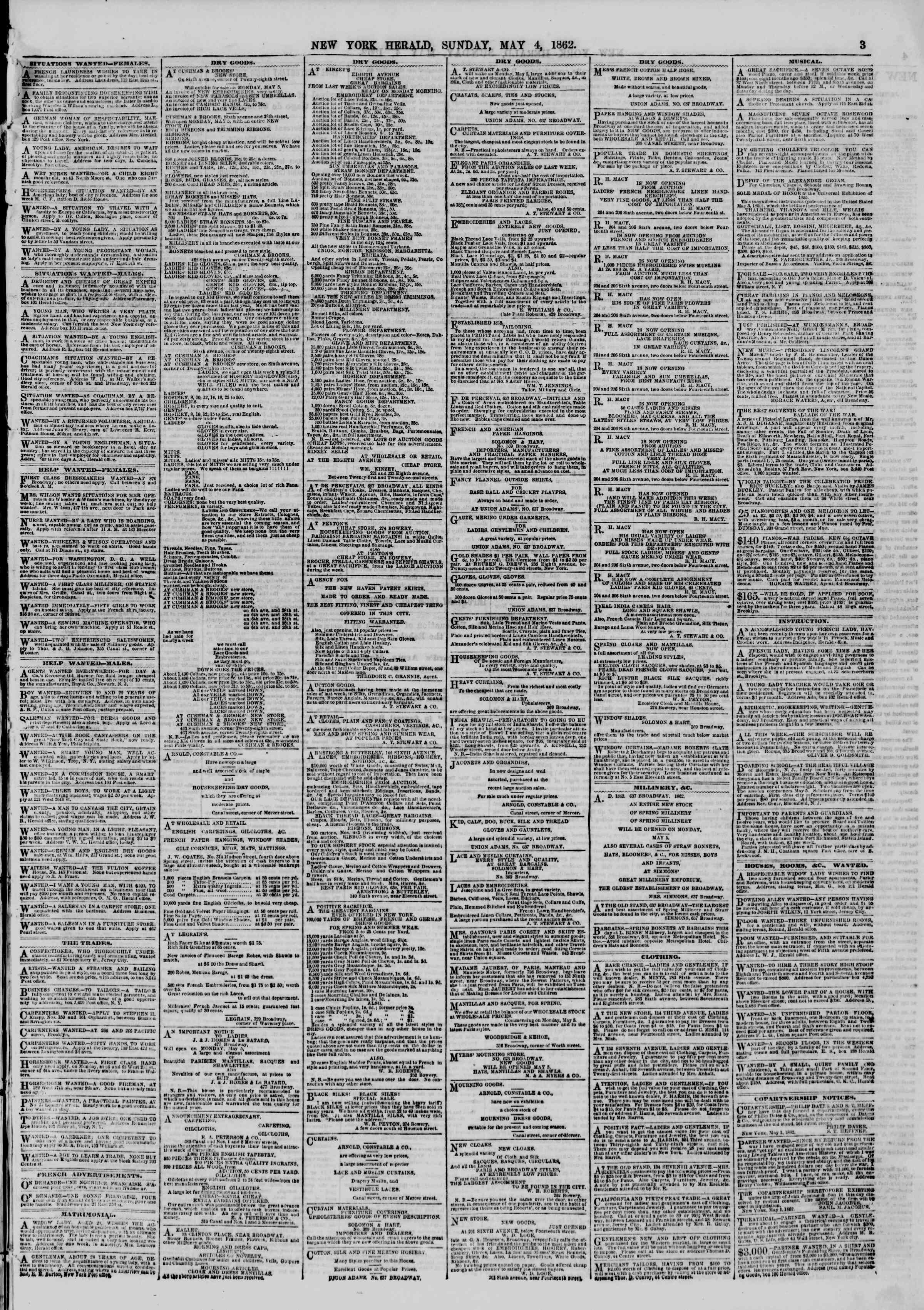 Newspaper of The New York Herald dated May 4, 1862 Page 3