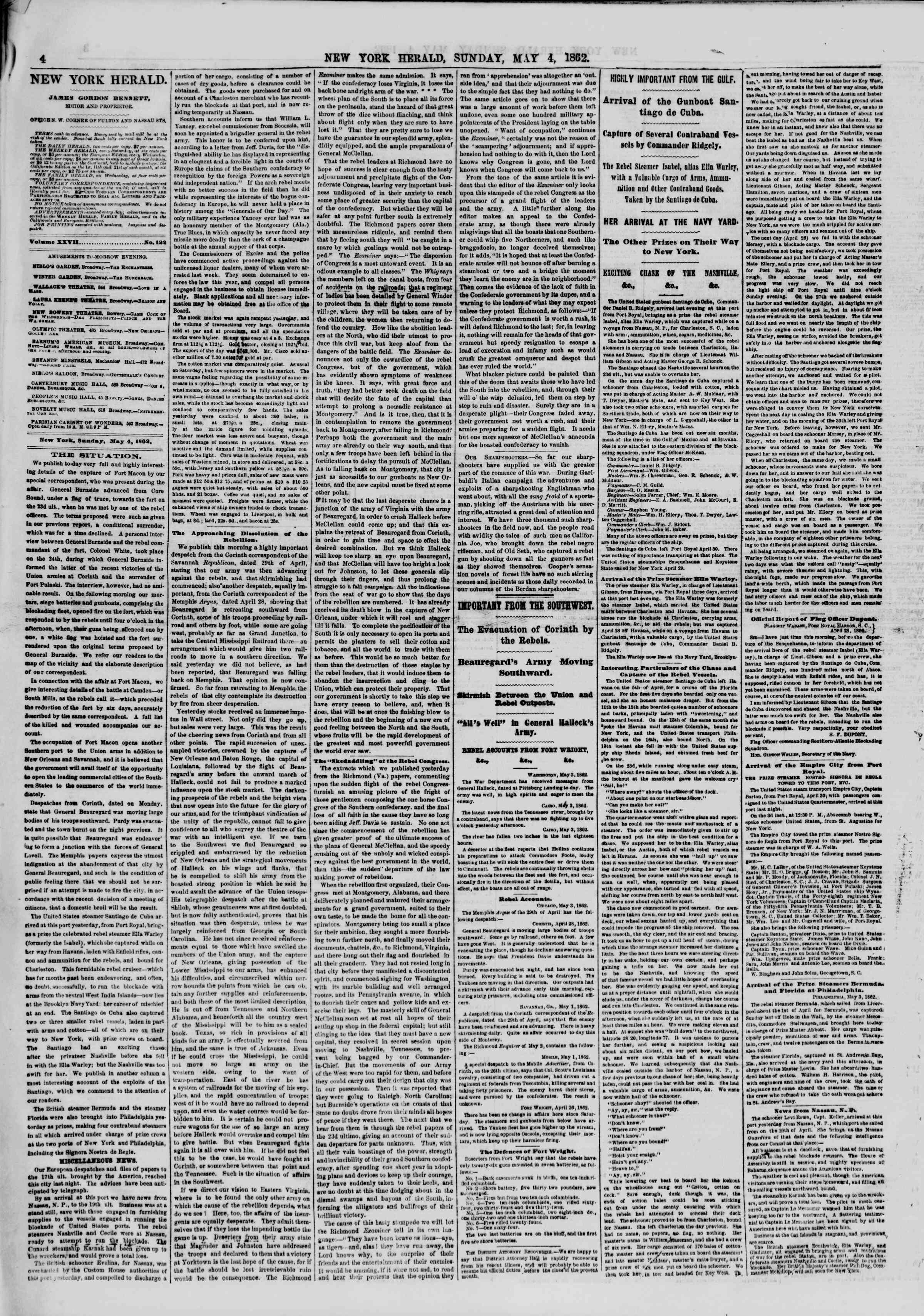 Newspaper of The New York Herald dated May 4, 1862 Page 4