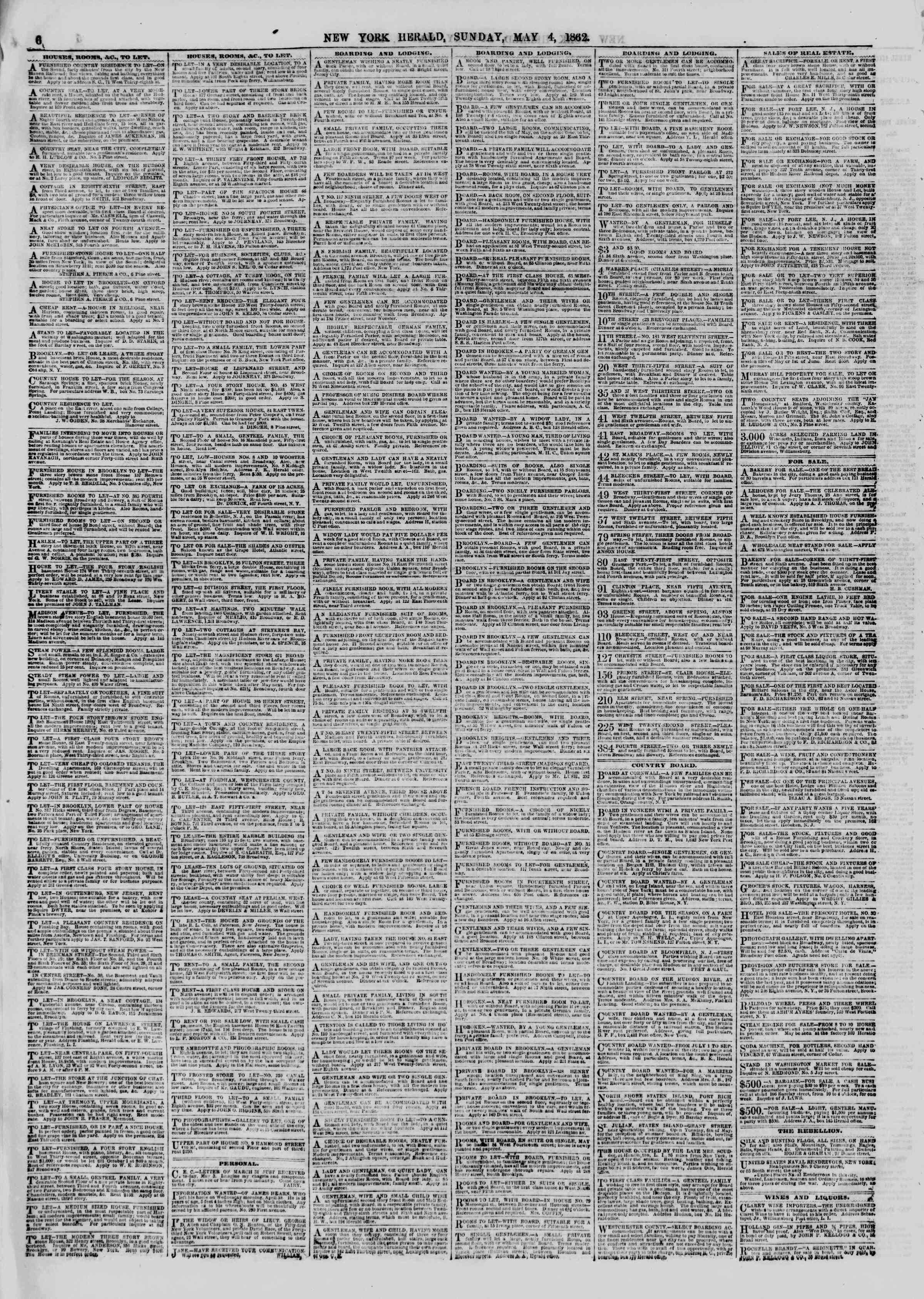 Newspaper of The New York Herald dated May 4, 1862 Page 6