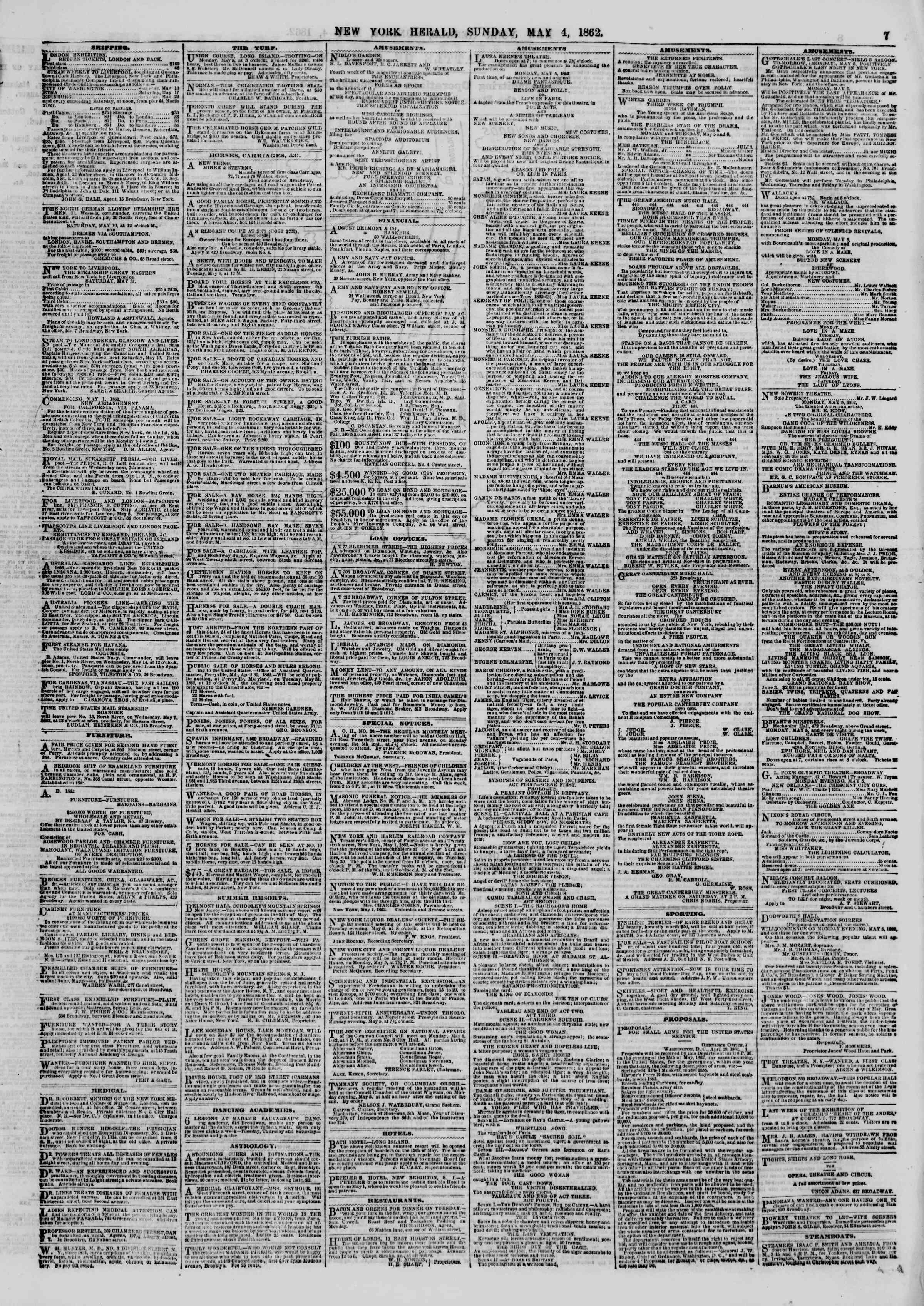 Newspaper of The New York Herald dated May 4, 1862 Page 7