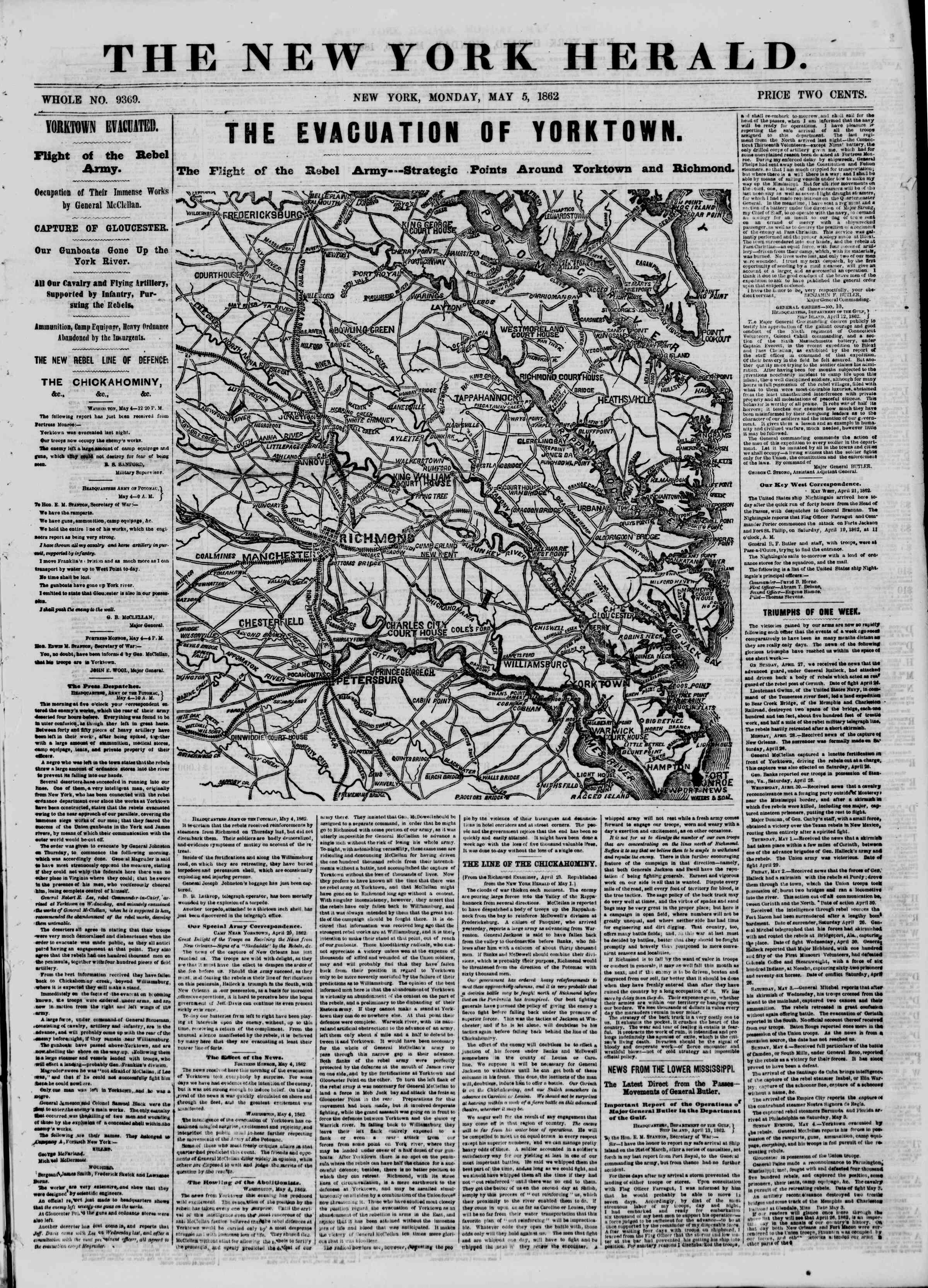 Newspaper of The New York Herald dated May 5, 1862 Page 1