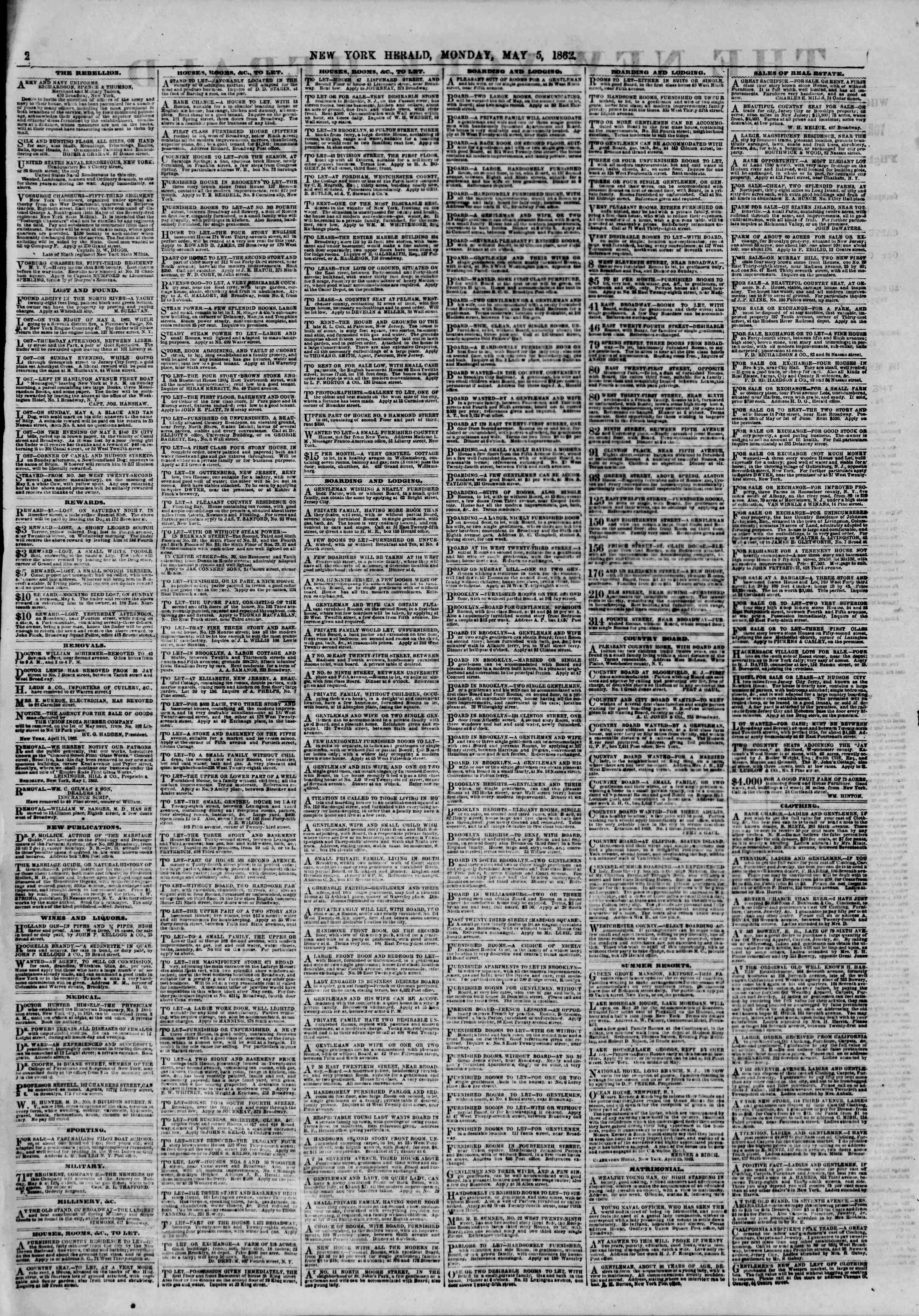 Newspaper of The New York Herald dated May 5, 1862 Page 2