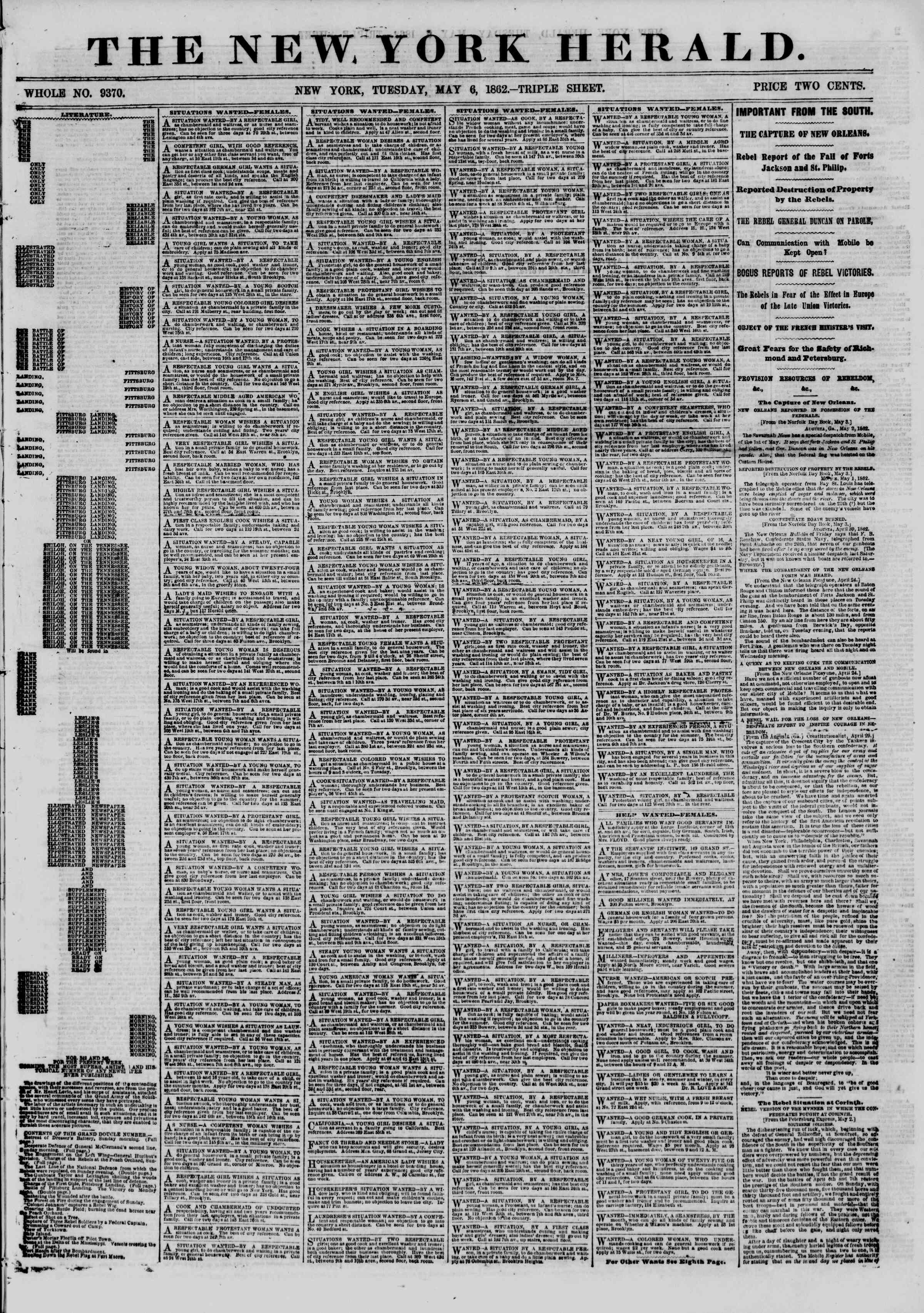 Newspaper of The New York Herald dated May 6, 1862 Page 1