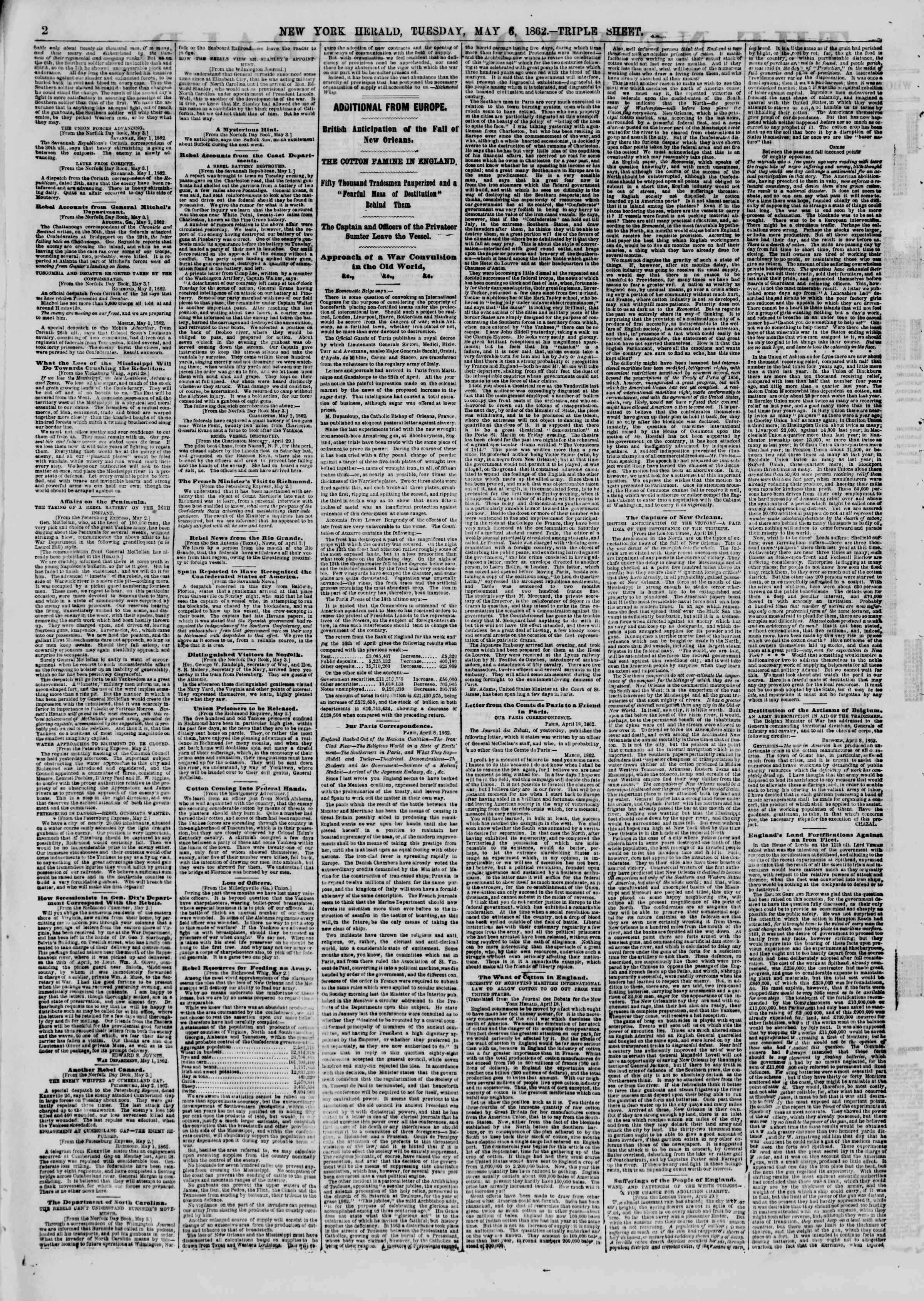 Newspaper of The New York Herald dated May 6, 1862 Page 2