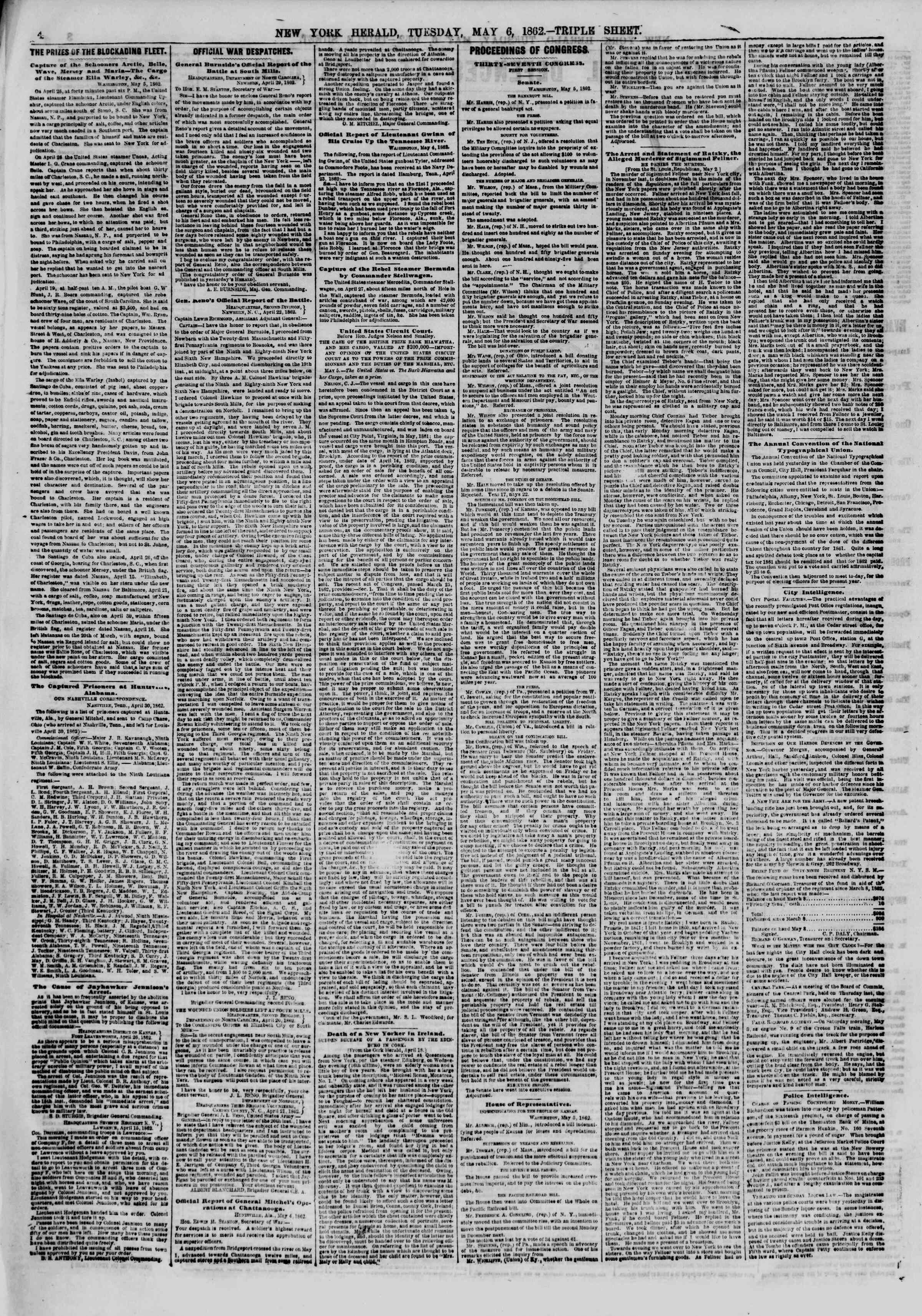 Newspaper of The New York Herald dated May 6, 1862 Page 4