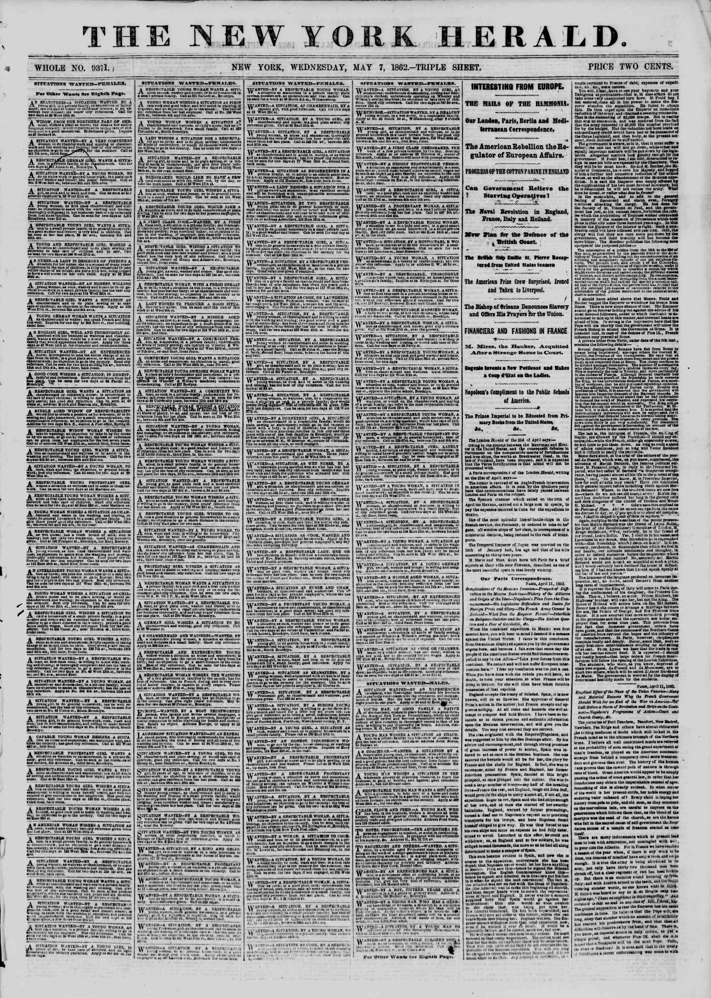Newspaper of The New York Herald dated May 7, 1862 Page 1