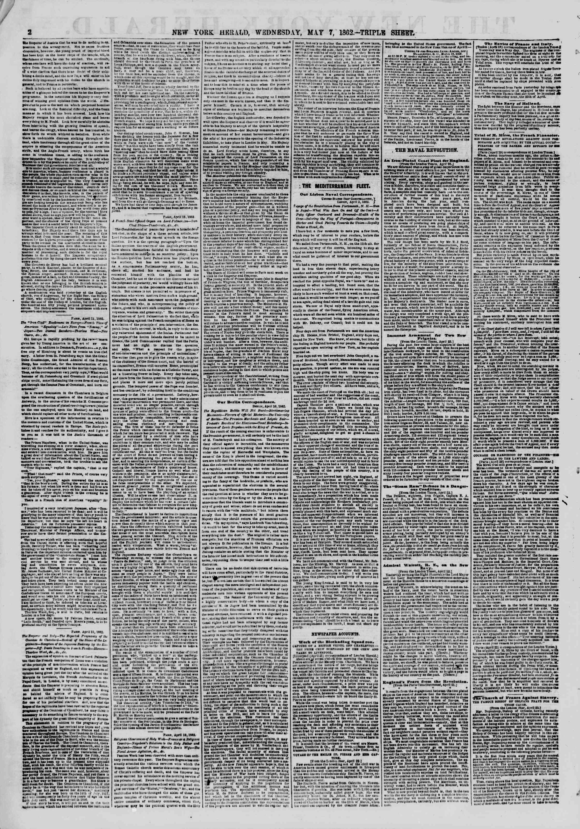 Newspaper of The New York Herald dated May 7, 1862 Page 2