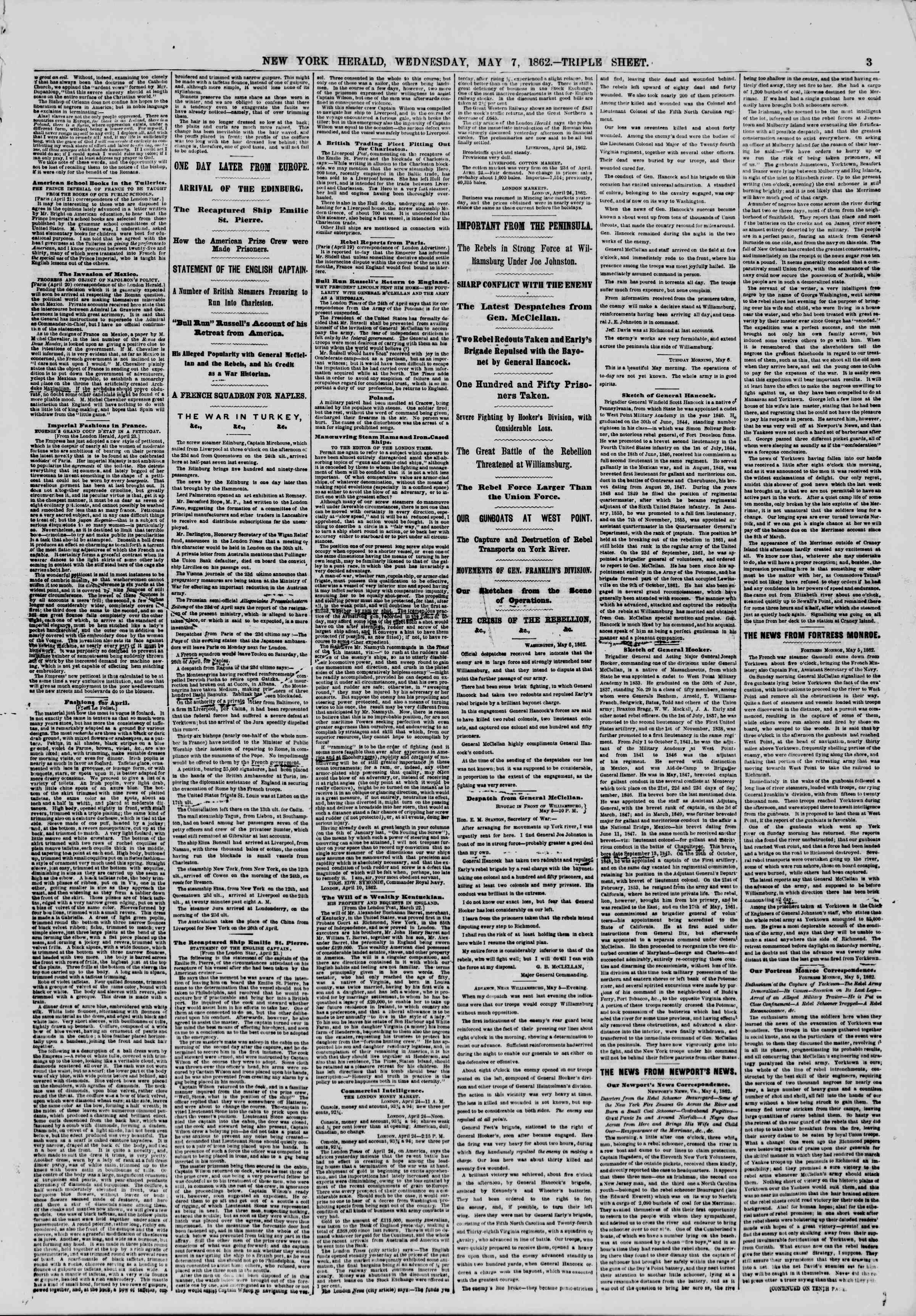 Newspaper of The New York Herald dated May 7, 1862 Page 3