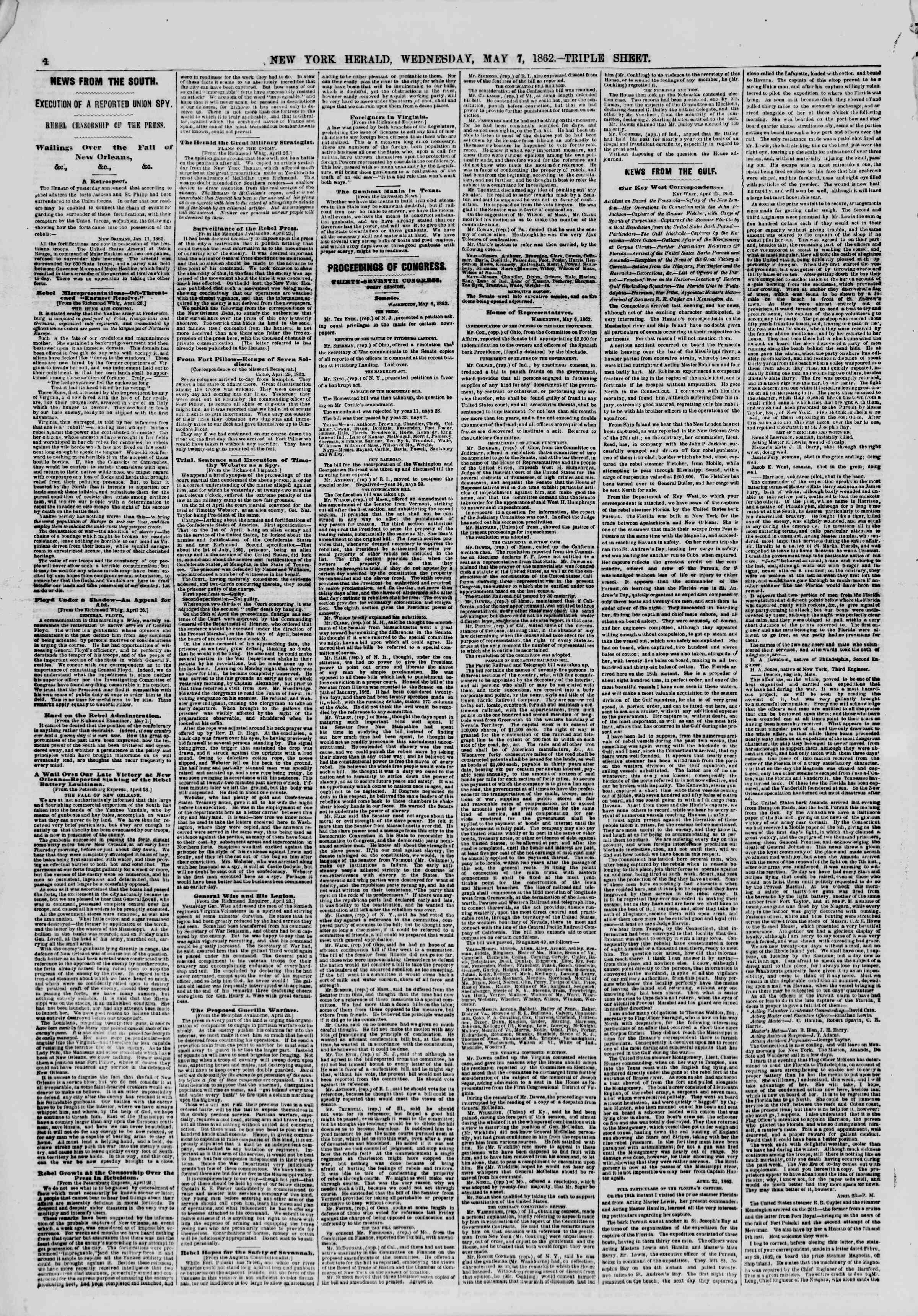 Newspaper of The New York Herald dated May 7, 1862 Page 4