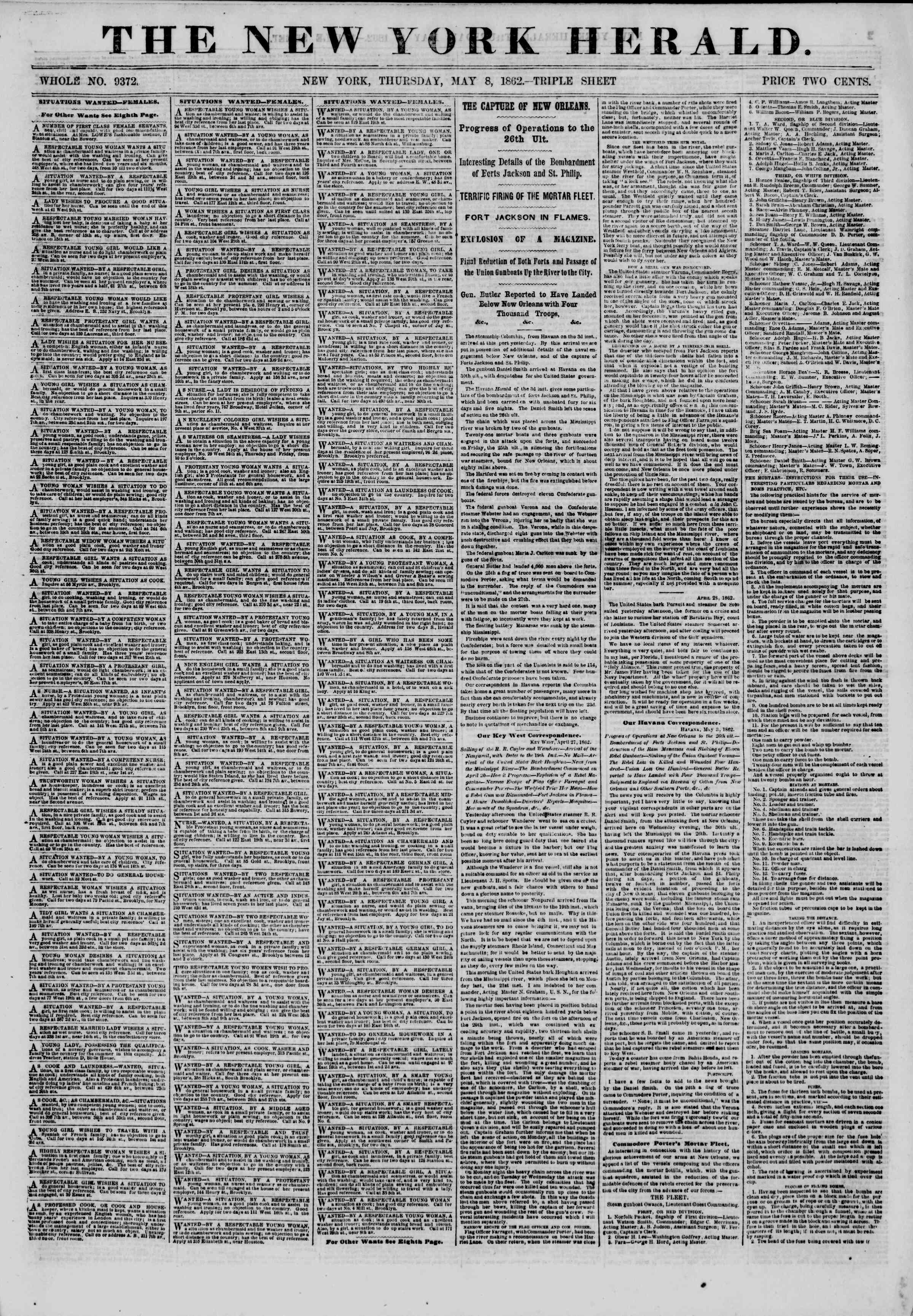 Newspaper of The New York Herald dated May 8, 1862 Page 1
