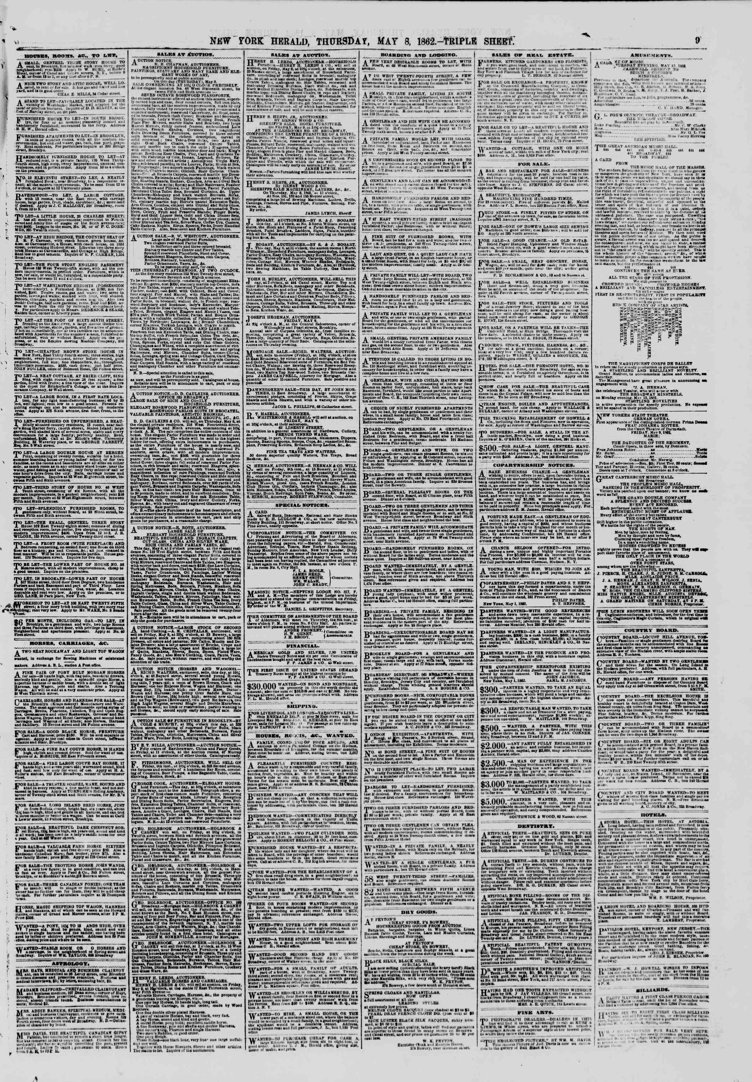 Newspaper of The New York Herald dated May 8, 1862 Page 11