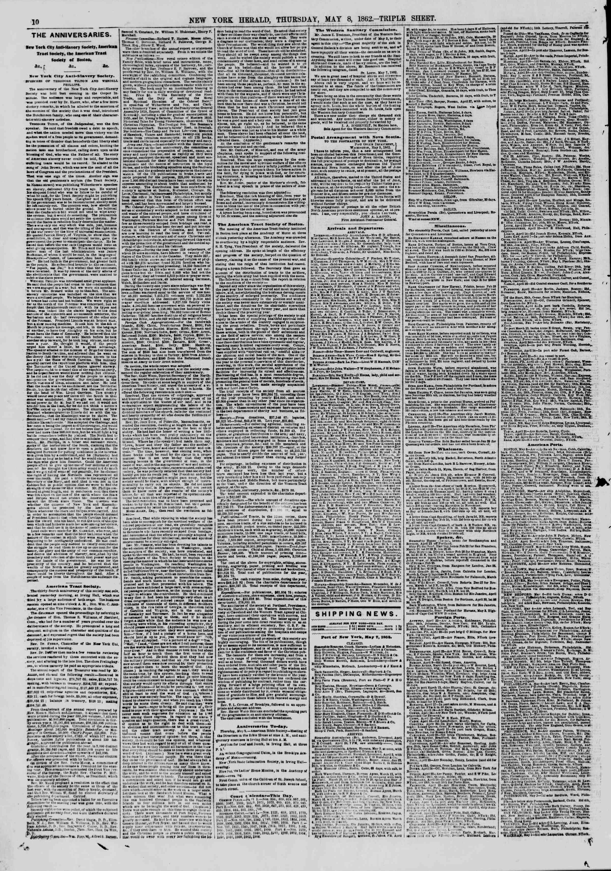 Newspaper of The New York Herald dated May 8, 1862 Page 12