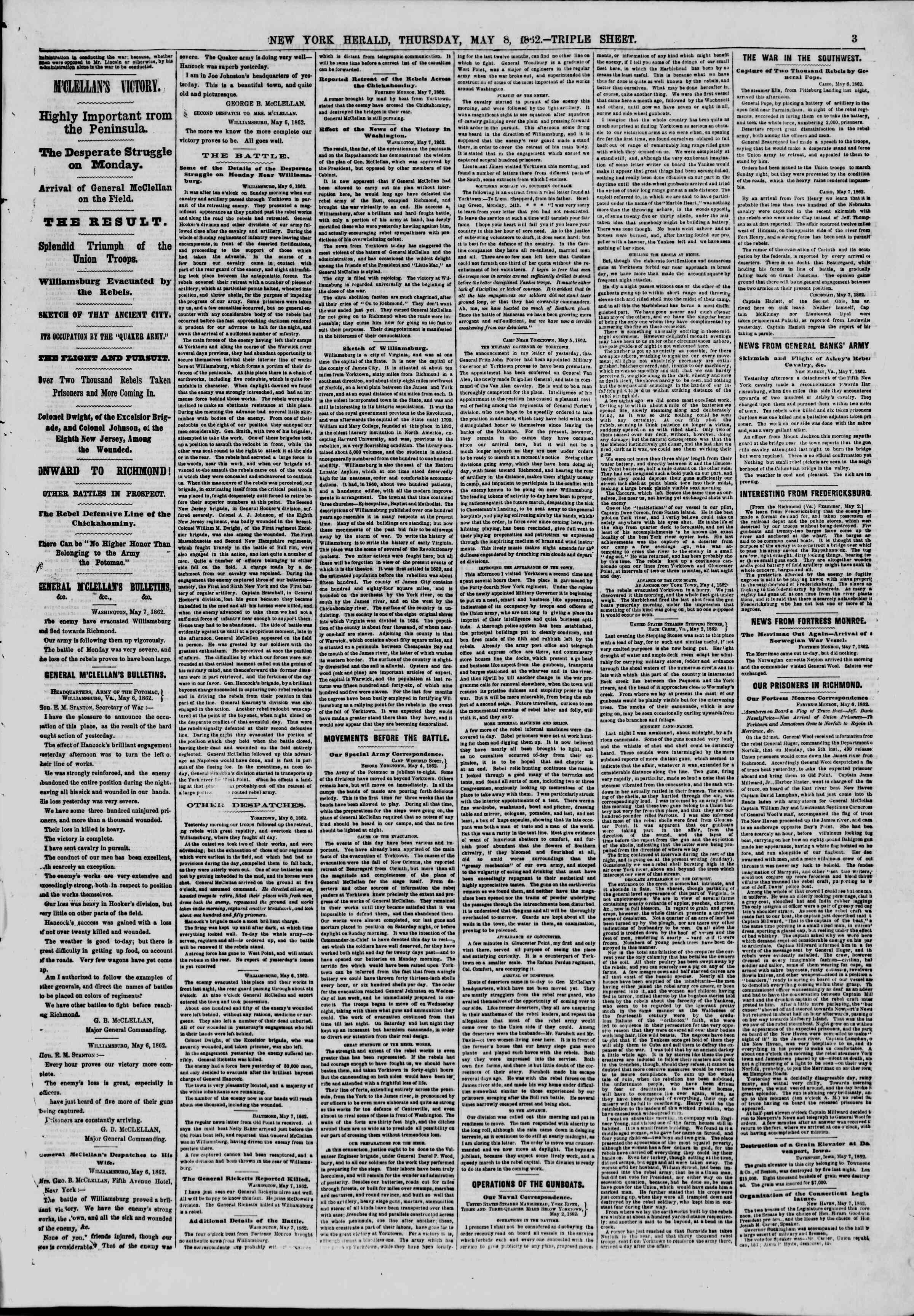 Newspaper of The New York Herald dated May 8, 1862 Page 3