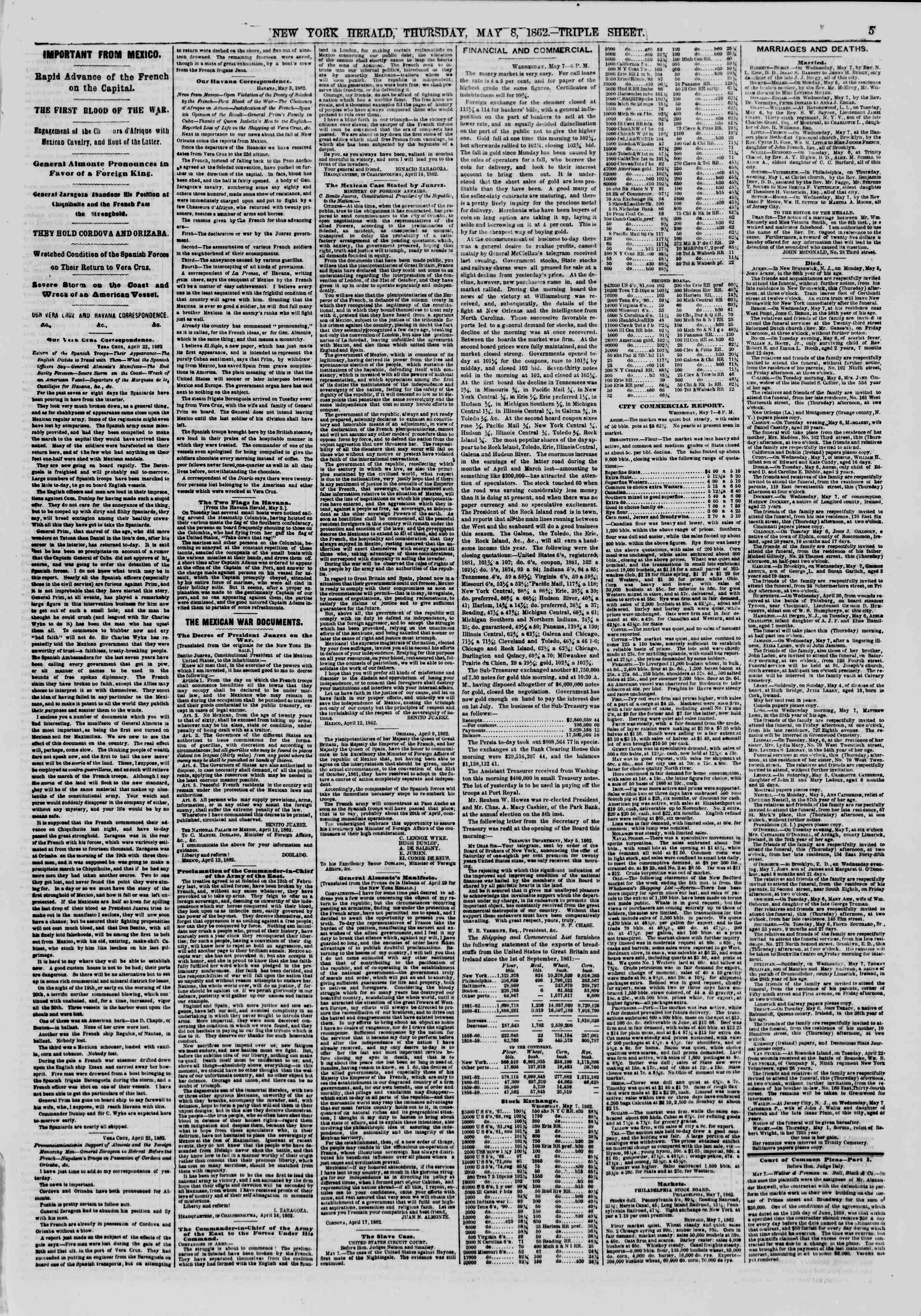 Newspaper of The New York Herald dated May 8, 1862 Page 5