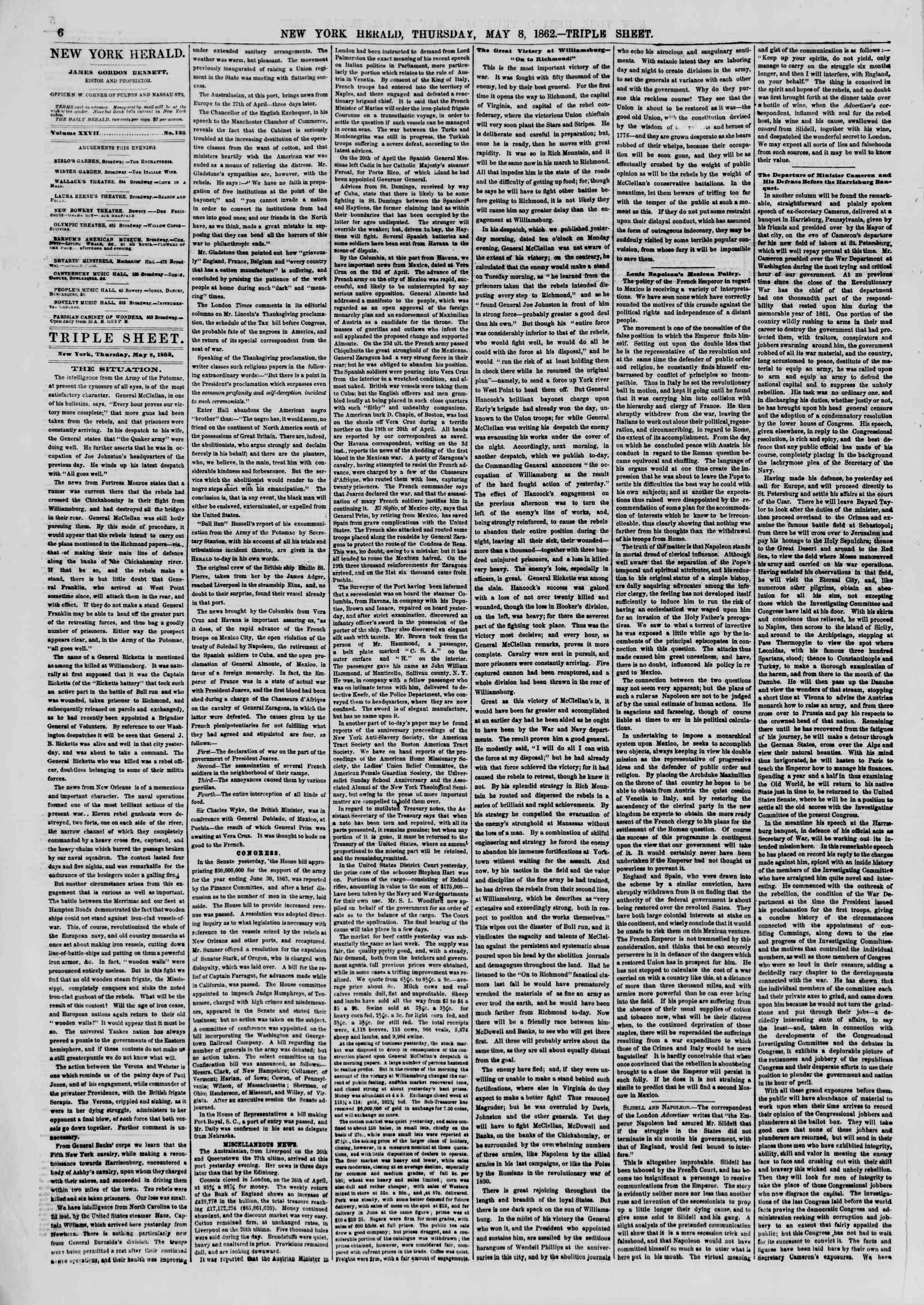 8 Mayıs 1862 tarihli The New York Herald Gazetesi Sayfa 6