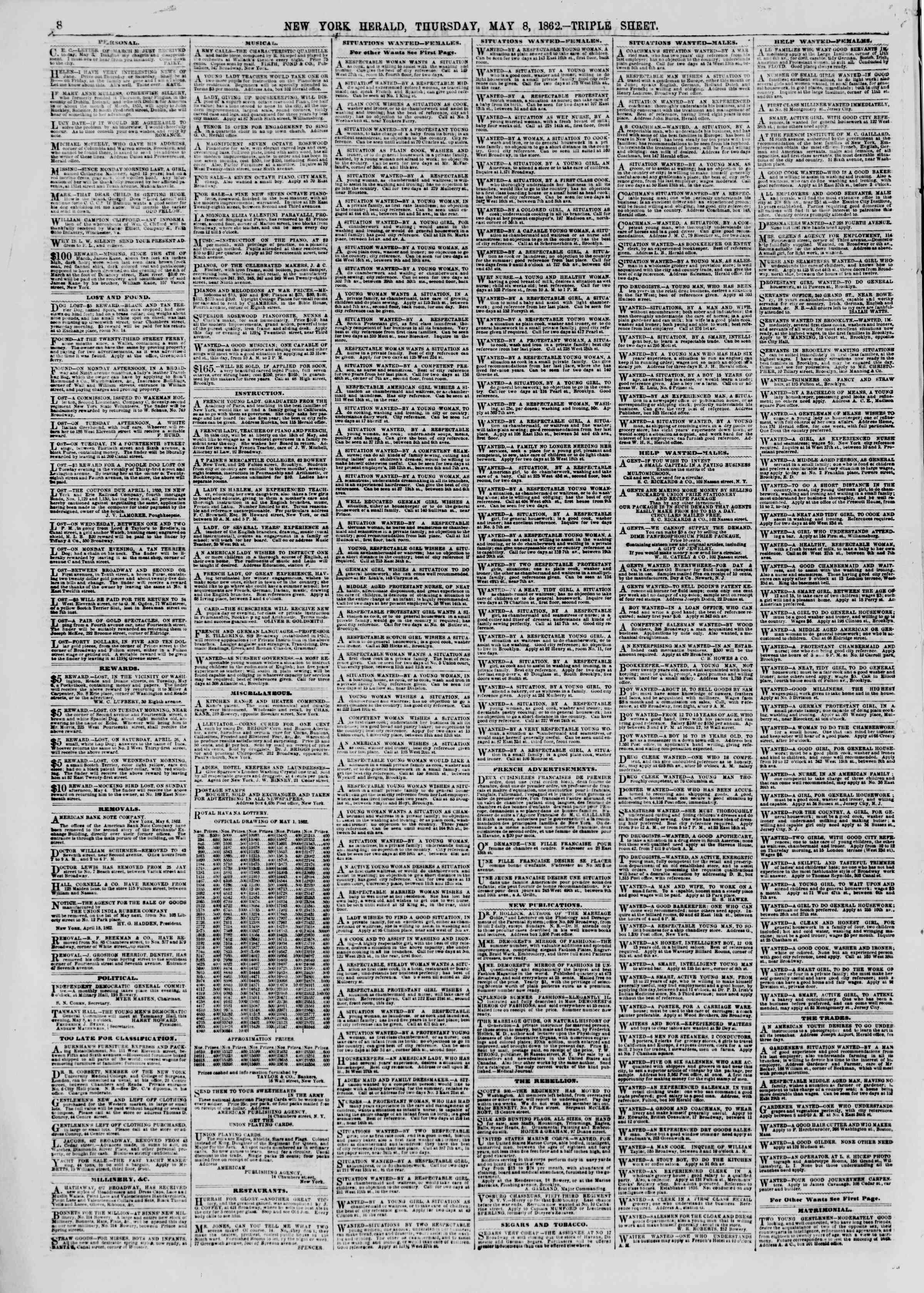 Newspaper of The New York Herald dated May 8, 1862 Page 8