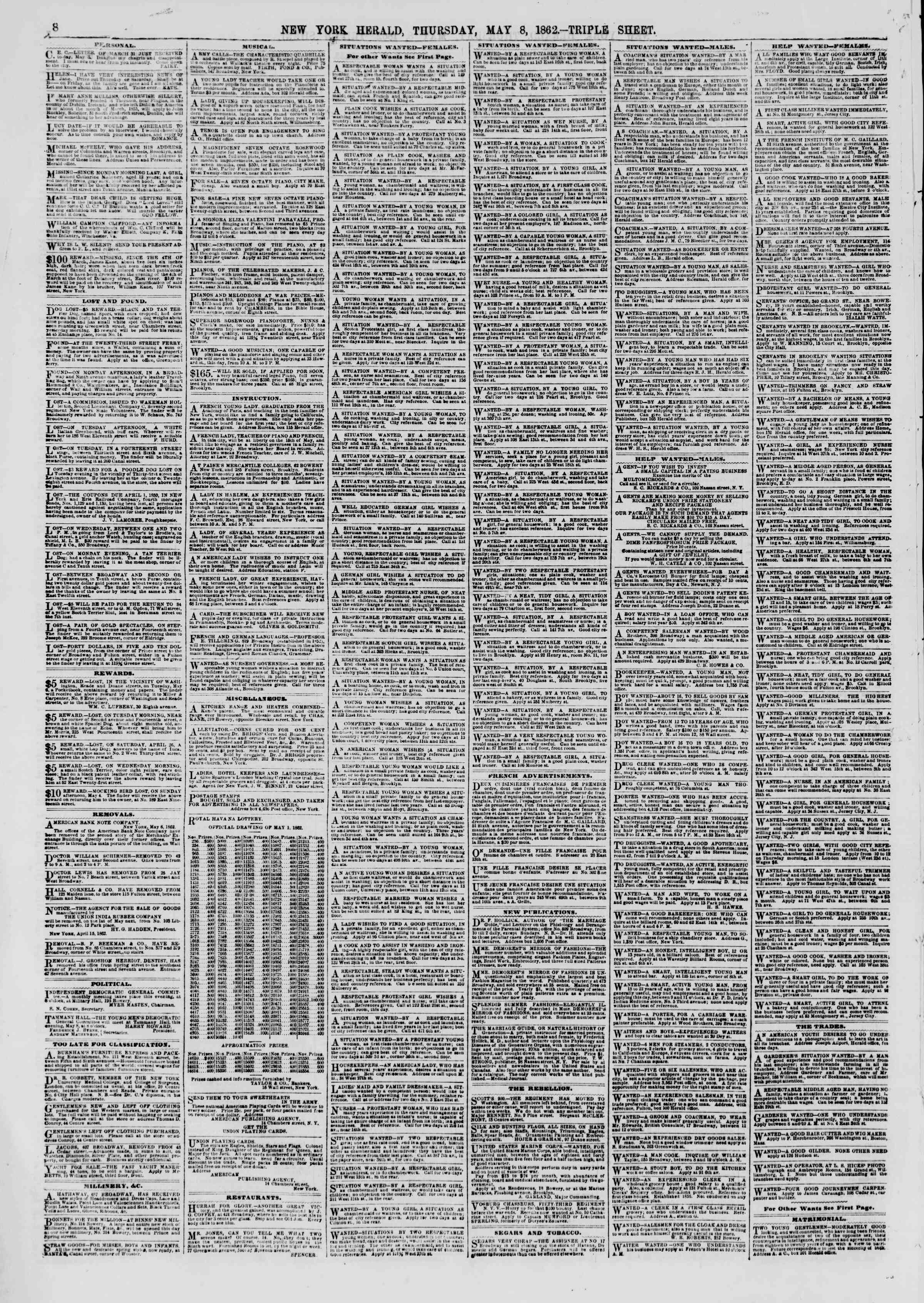 Newspaper of The New York Herald dated May 8, 1862 Page 10