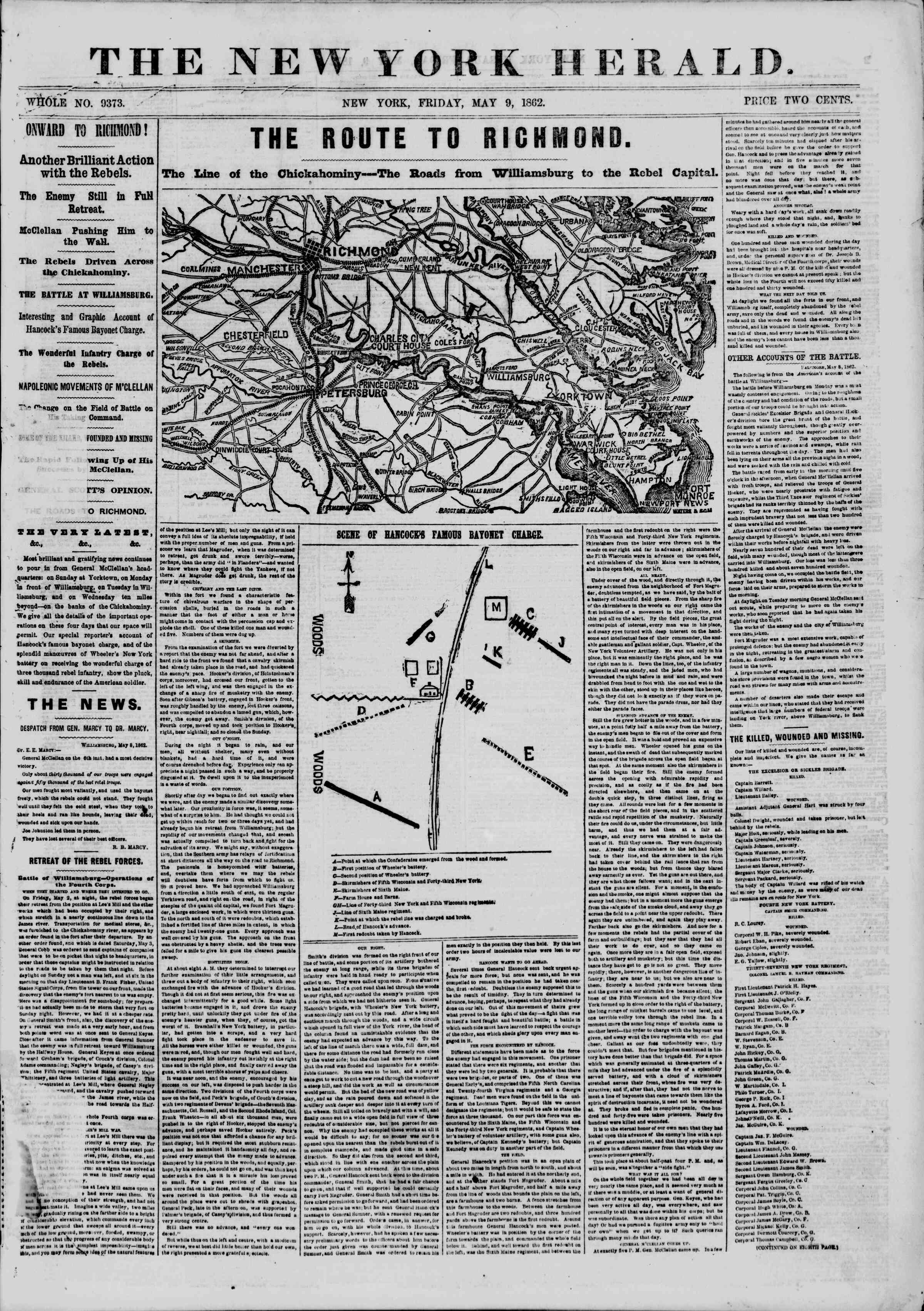 Newspaper of The New York Herald dated May 9, 1862 Page 1