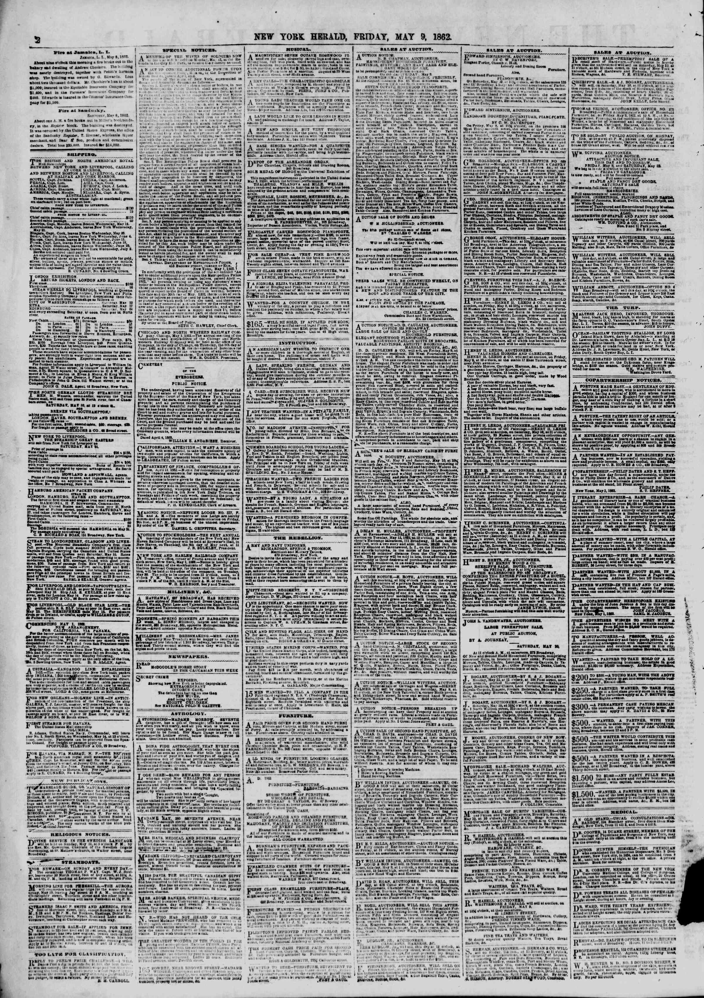 Newspaper of The New York Herald dated May 9, 1862 Page 2