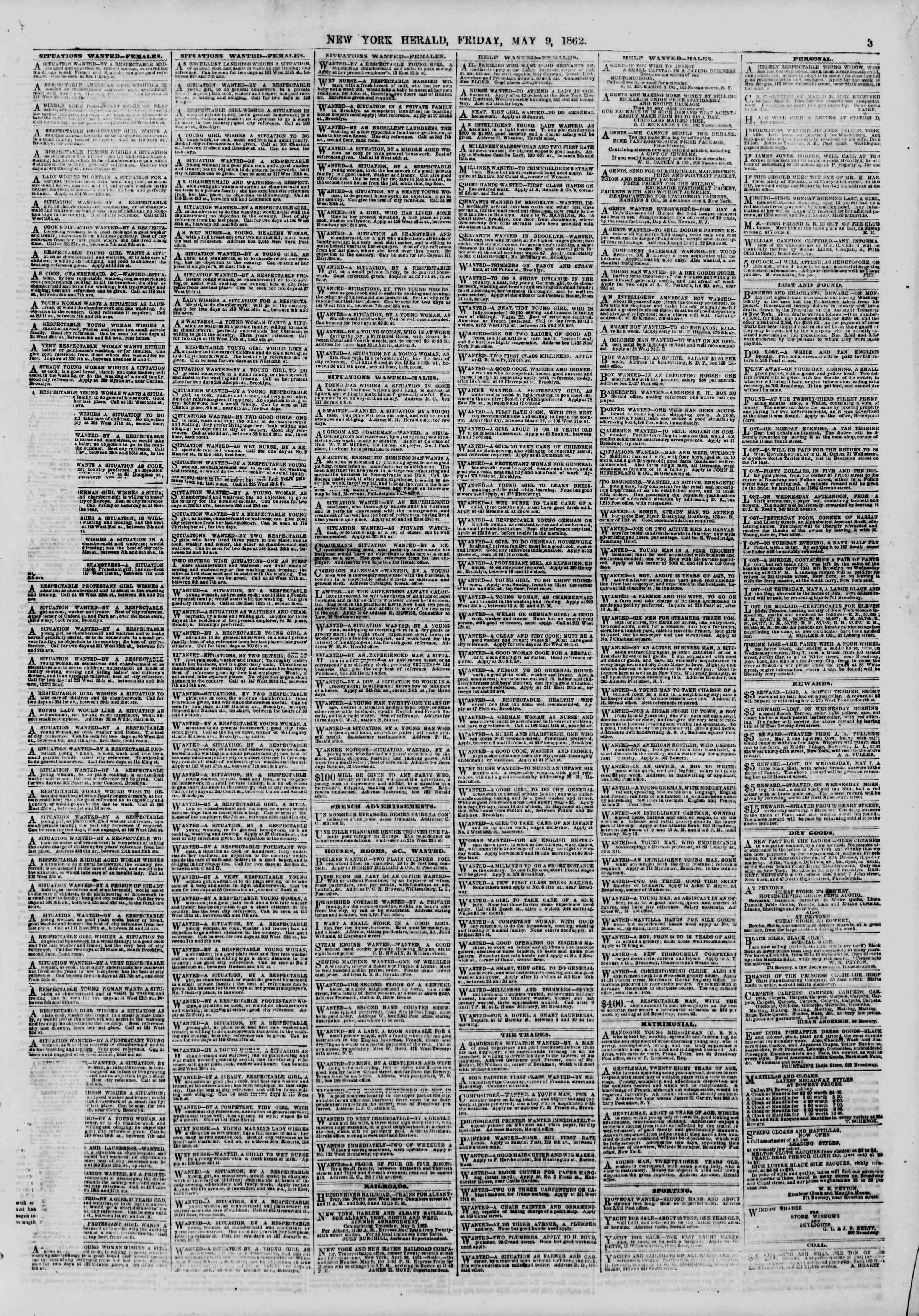 Newspaper of The New York Herald dated May 9, 1862 Page 3