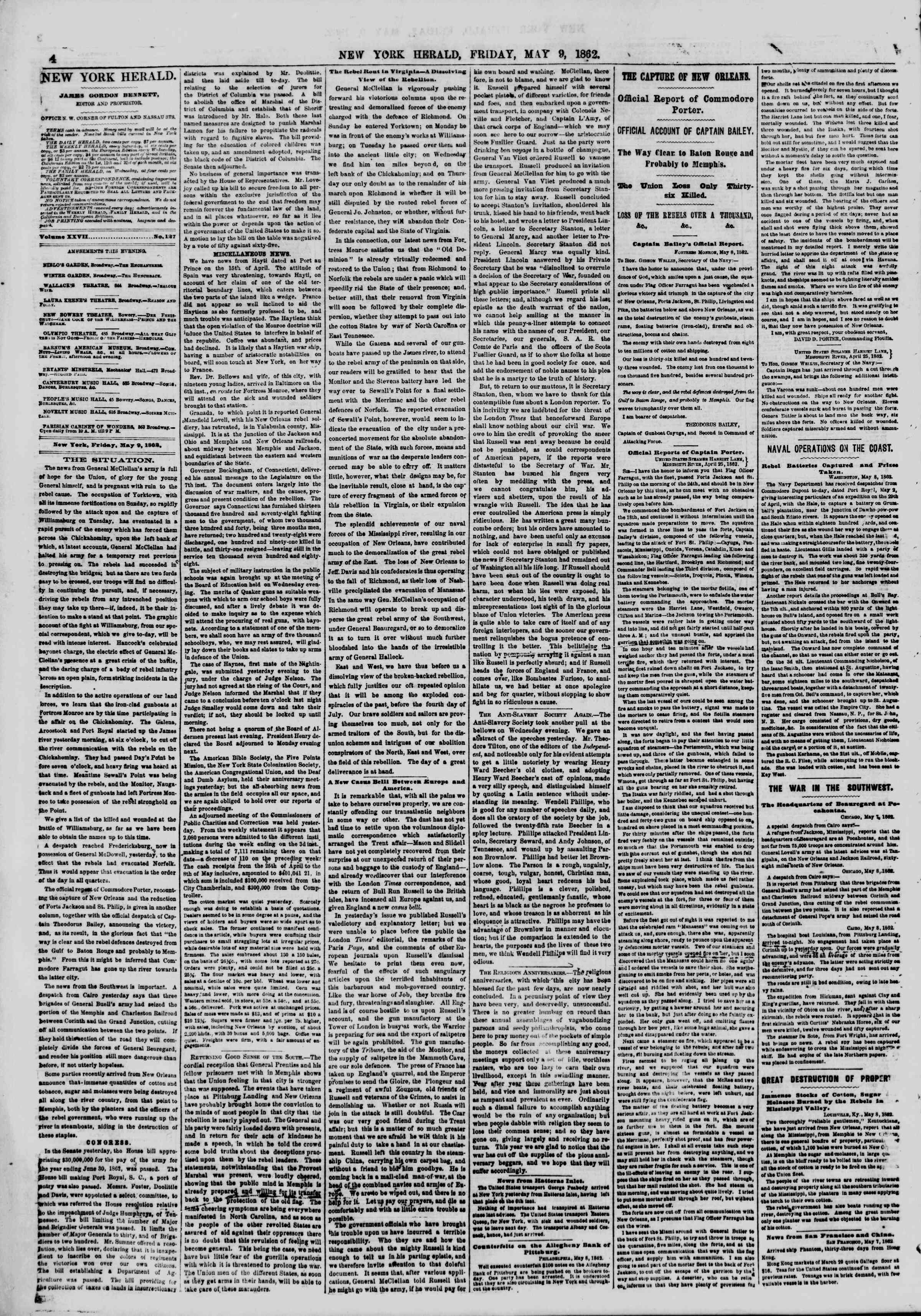 Newspaper of The New York Herald dated May 9, 1862 Page 4