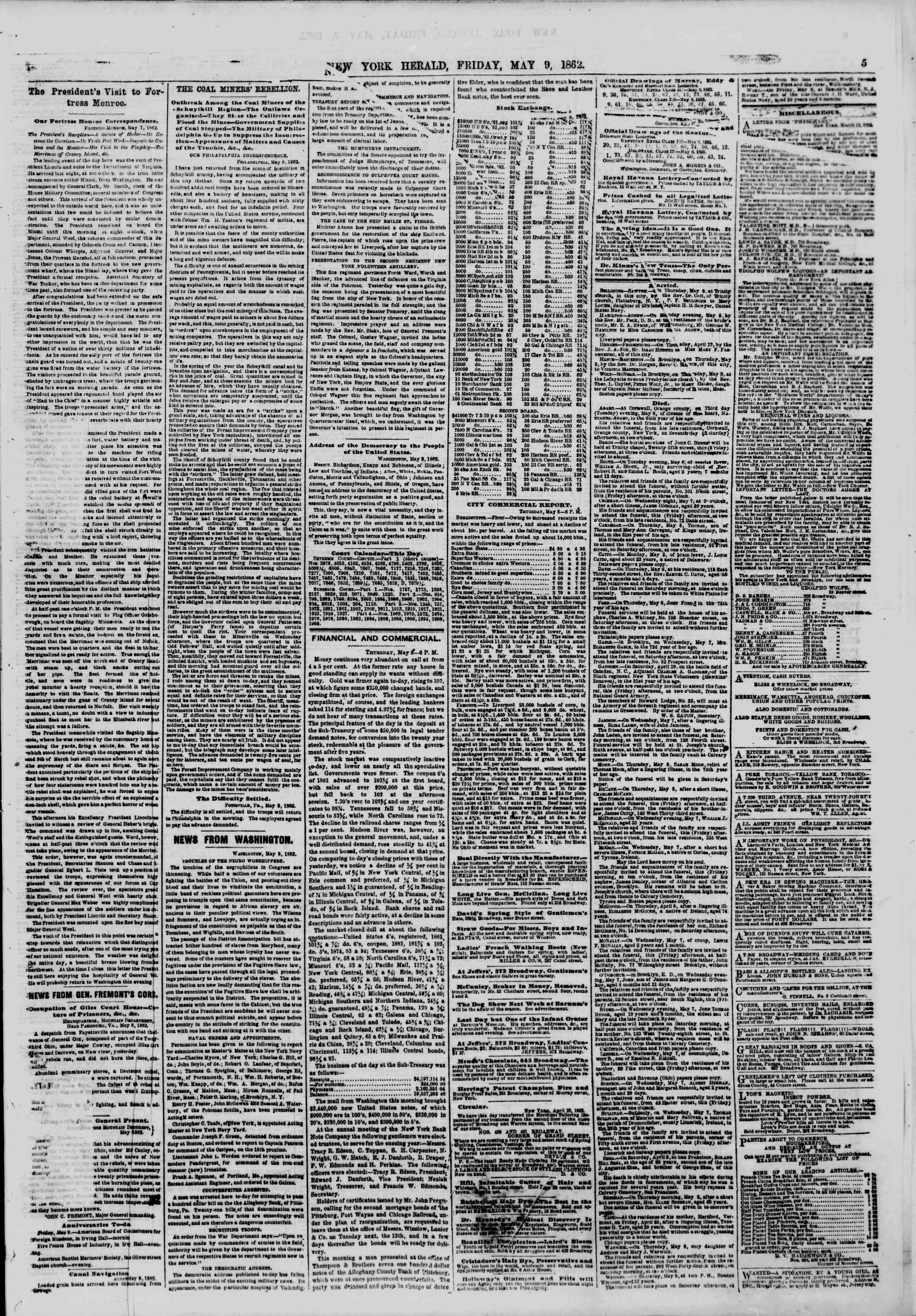 Newspaper of The New York Herald dated May 9, 1862 Page 5