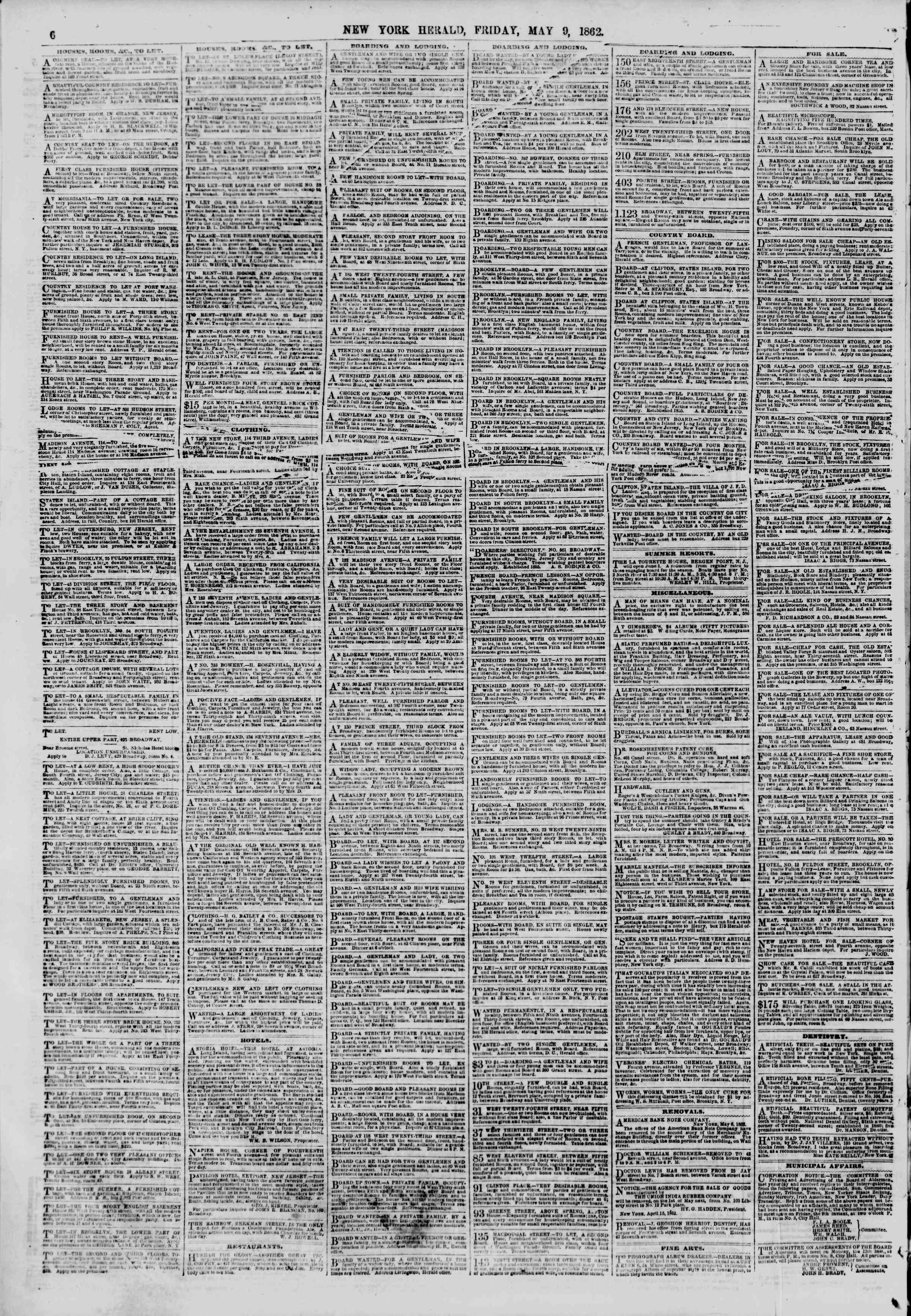Newspaper of The New York Herald dated May 9, 1862 Page 6